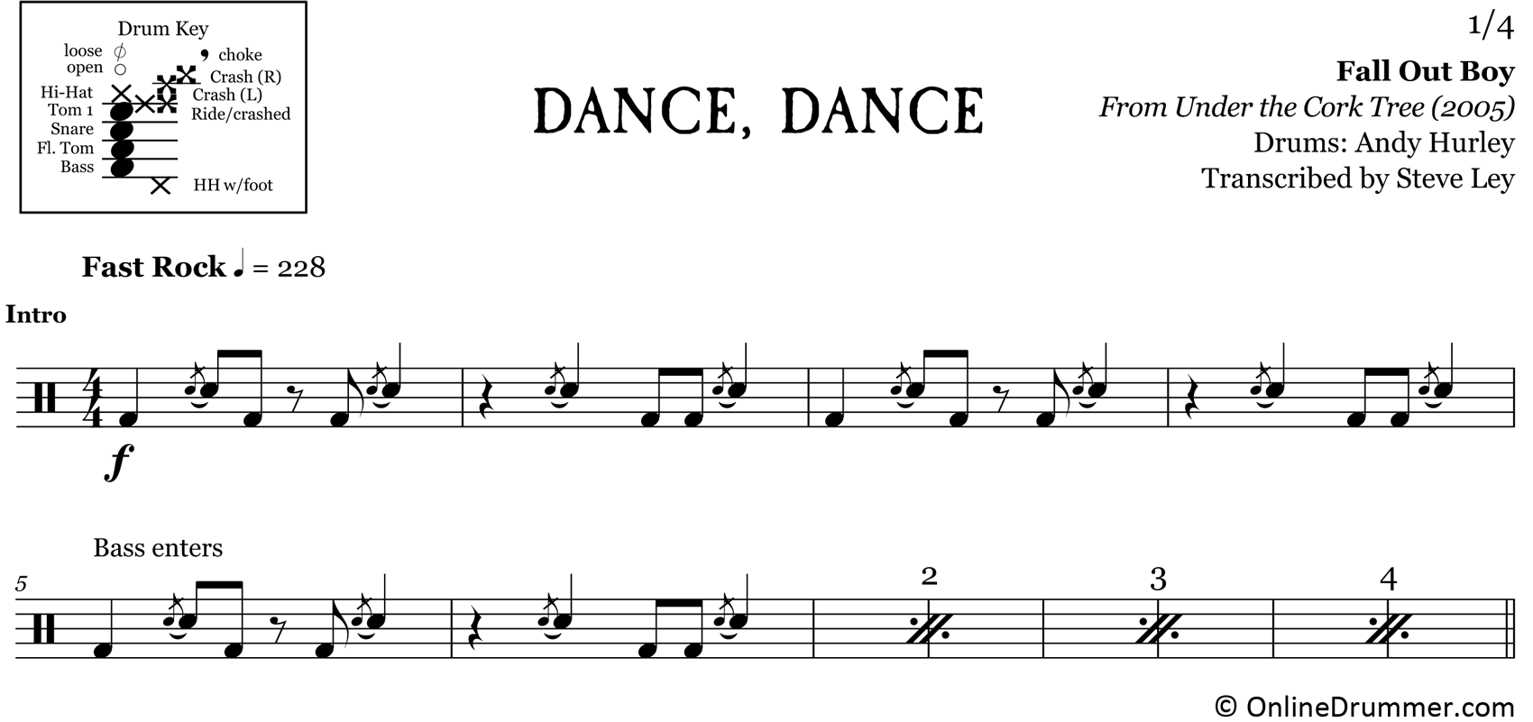Dance, Dance - Fall Out Boy - Drum Sheet Music