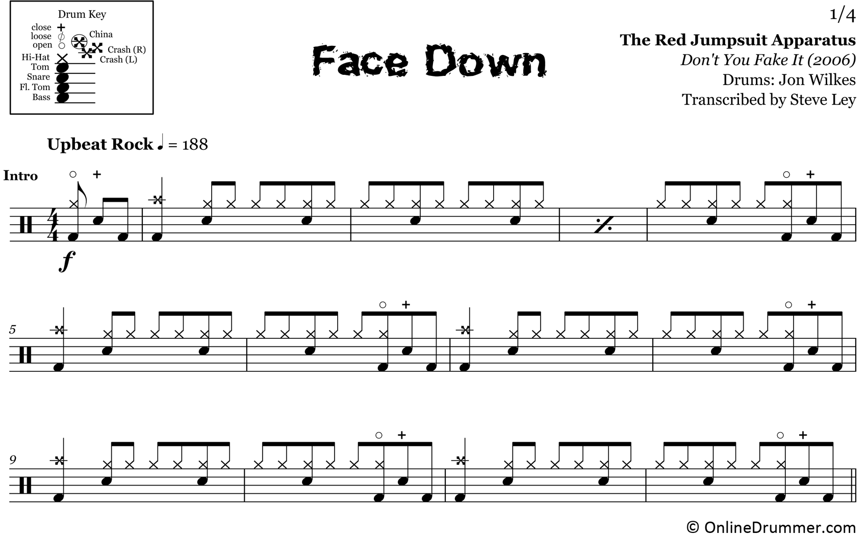 Face Down - Red Jumpsuit Apparatus - Drum Sheet Music