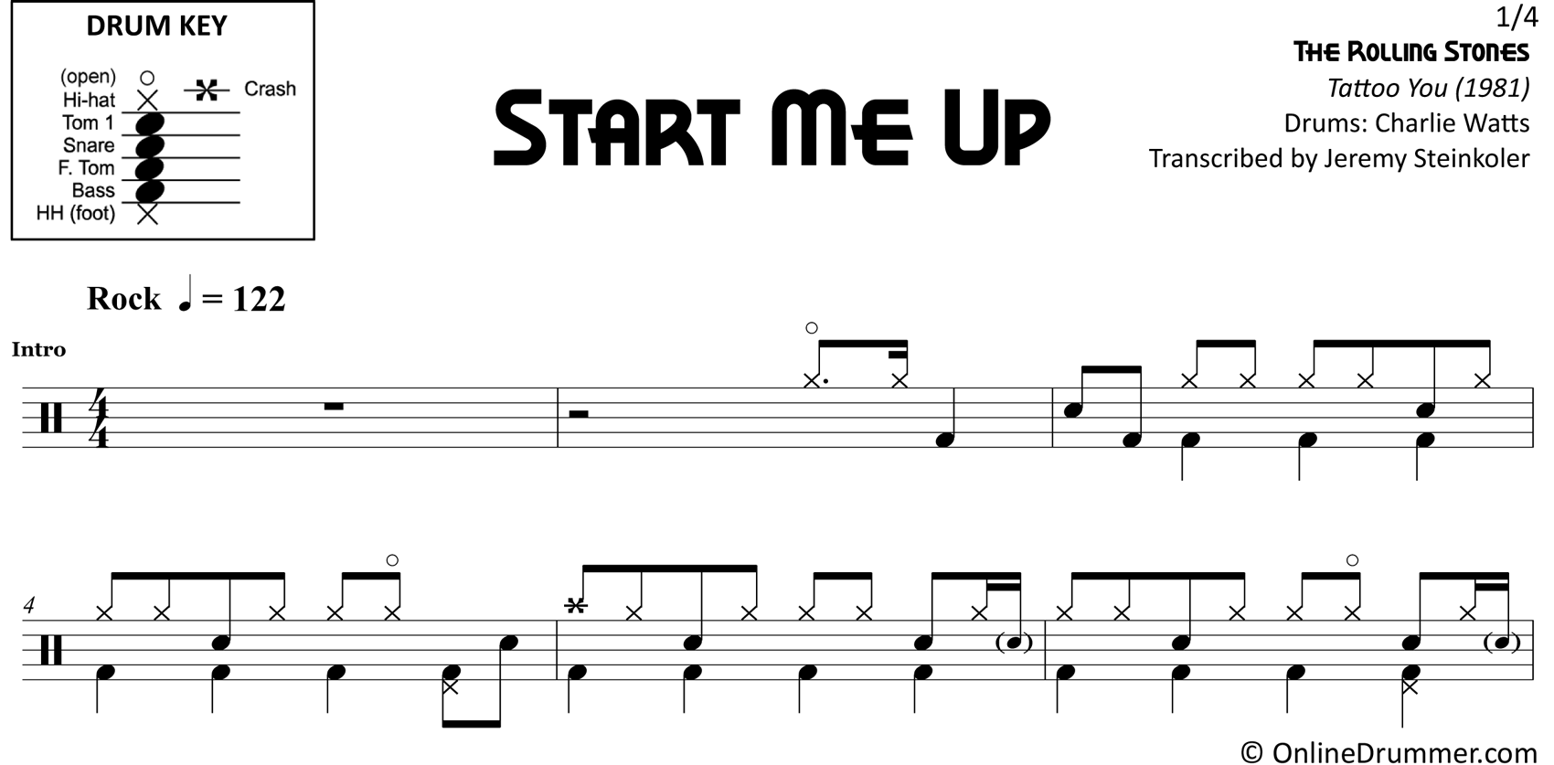Start Me Up - The Rolling Stones - Drum Sheet Music