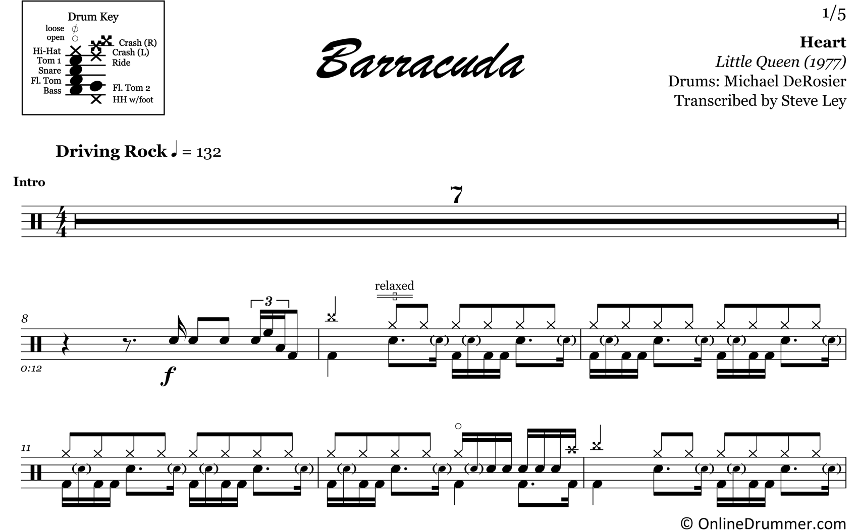 Barracuda - Heart - Drum Sheet Music