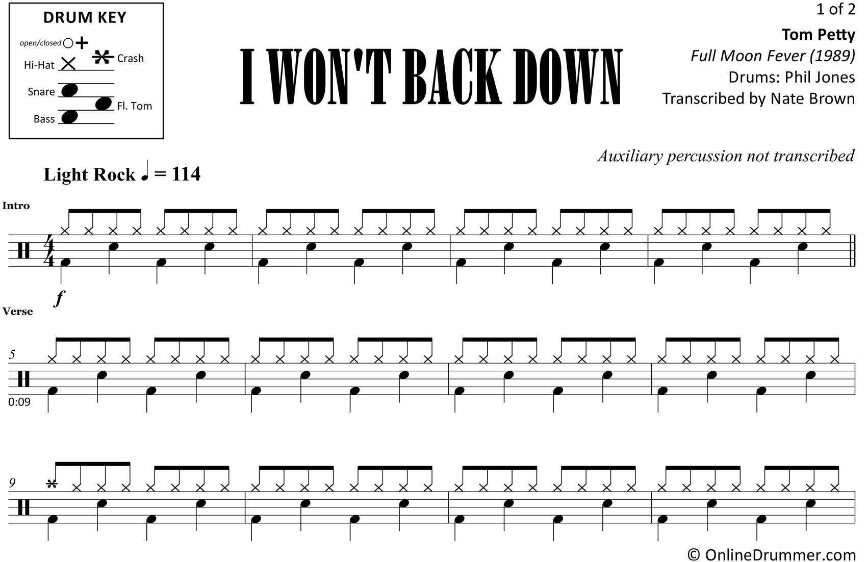 I Won't Back Down - Tom Petty - Drum Sheet Music