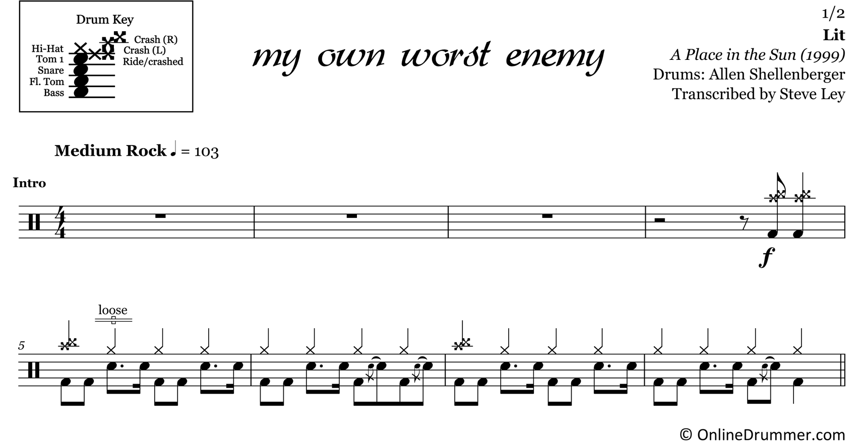 My Own Worst Enemy - Lit - Drum Sheet Music