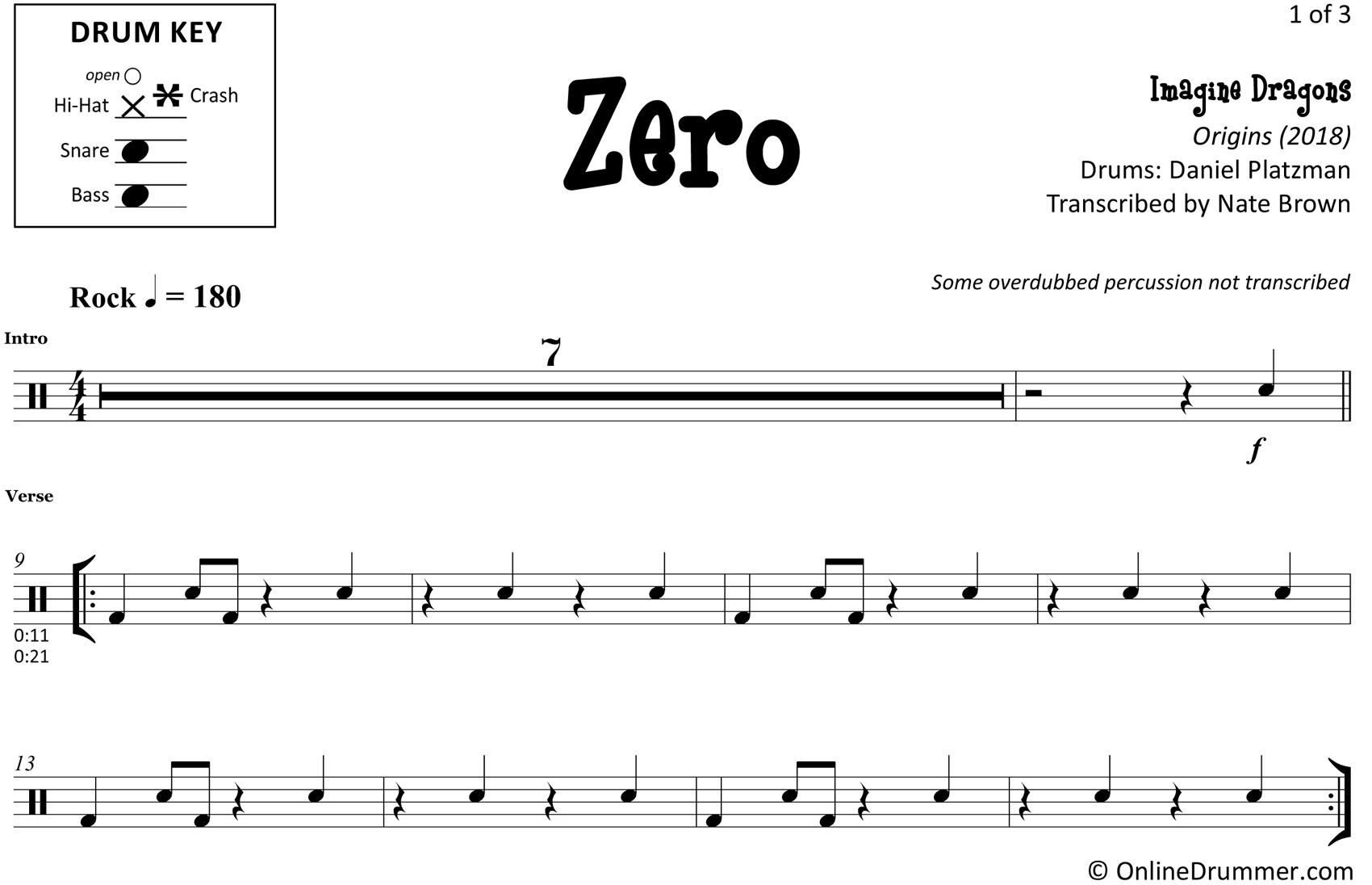 Zero - Imagine Dragons - Drum Sheet Music