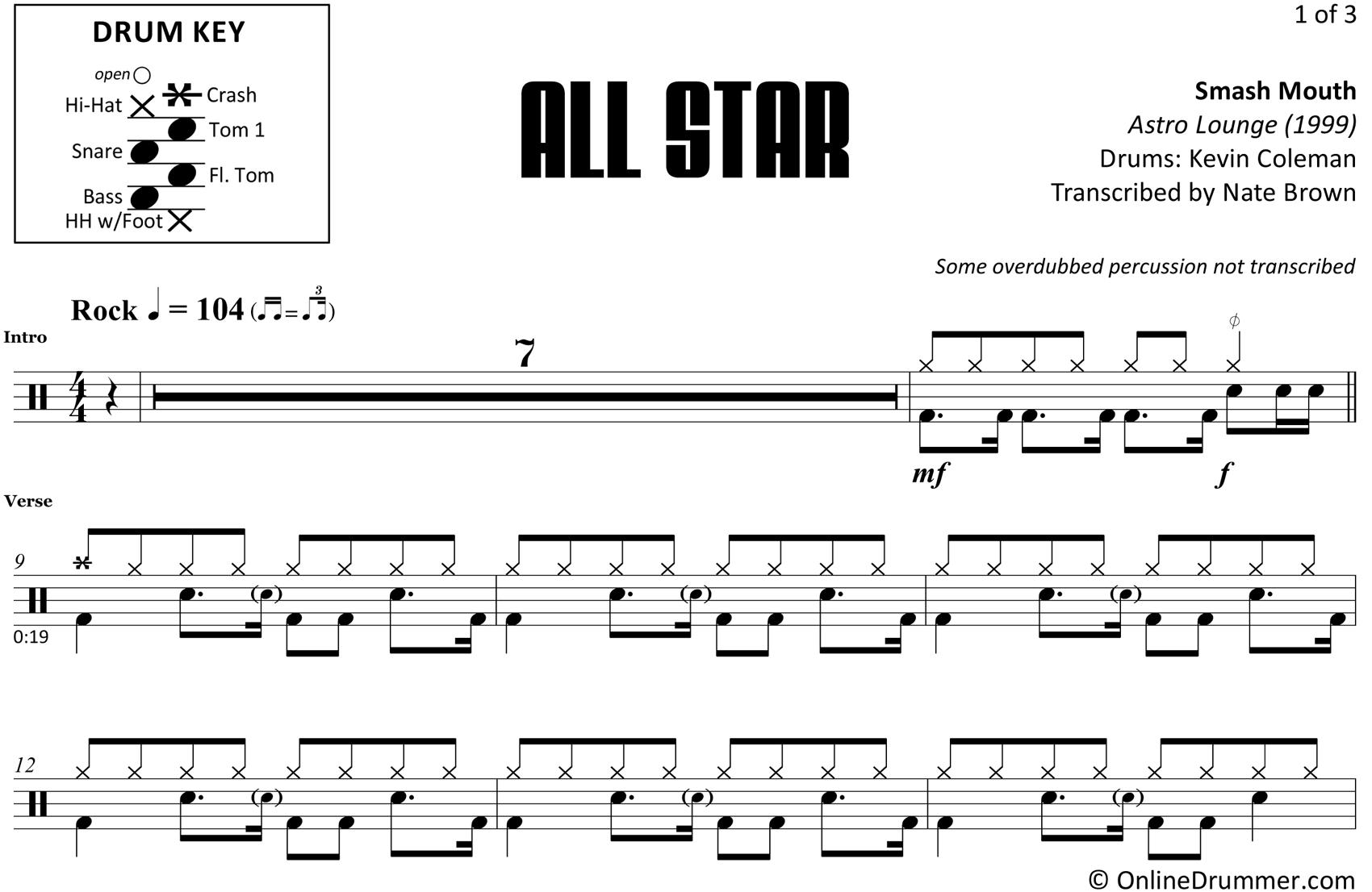 All Star - Smash Mouth - Drum Sheet Music
