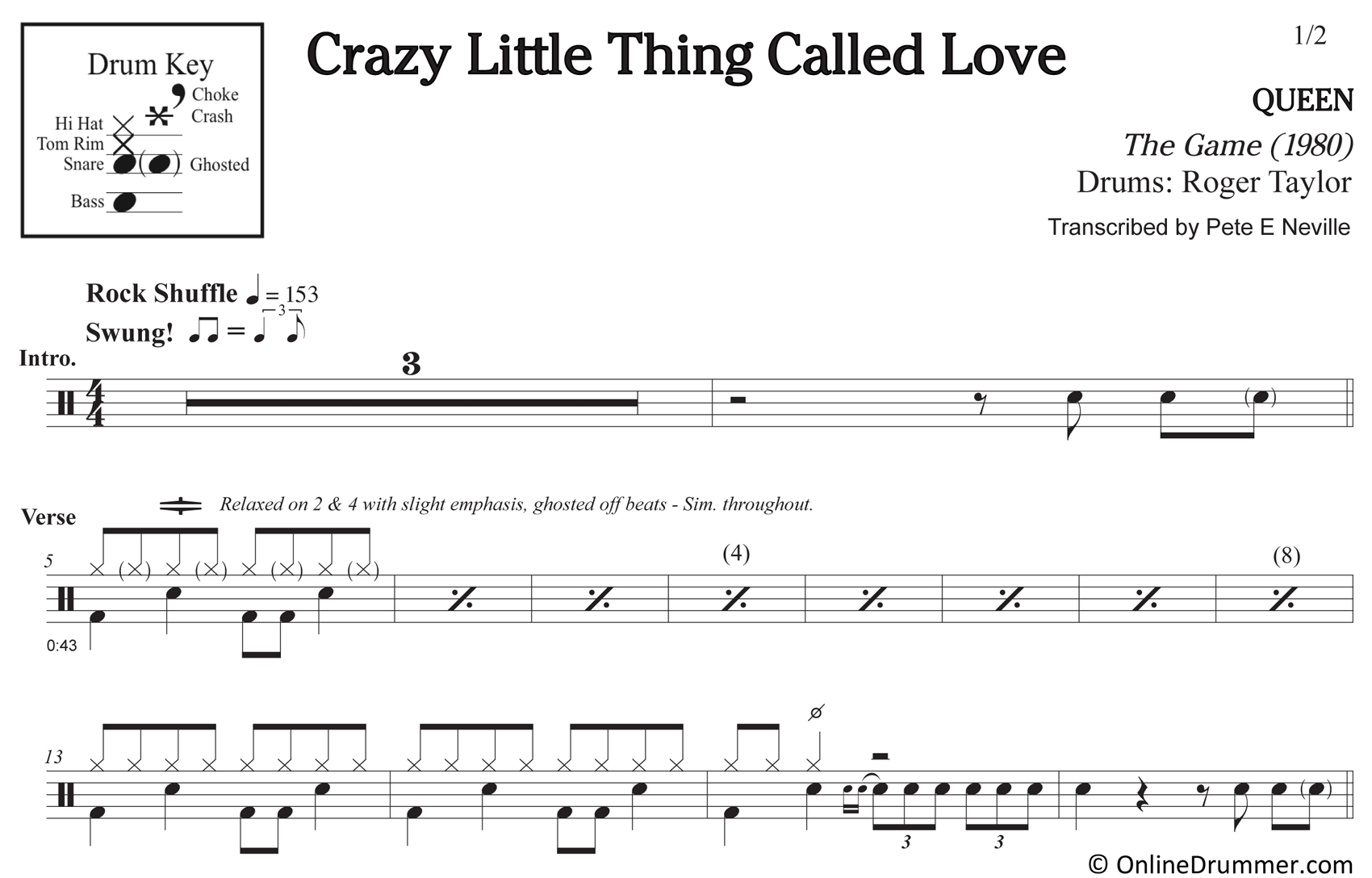 Crazy Little Thing Called Love - Queen - Drum Sheet Music