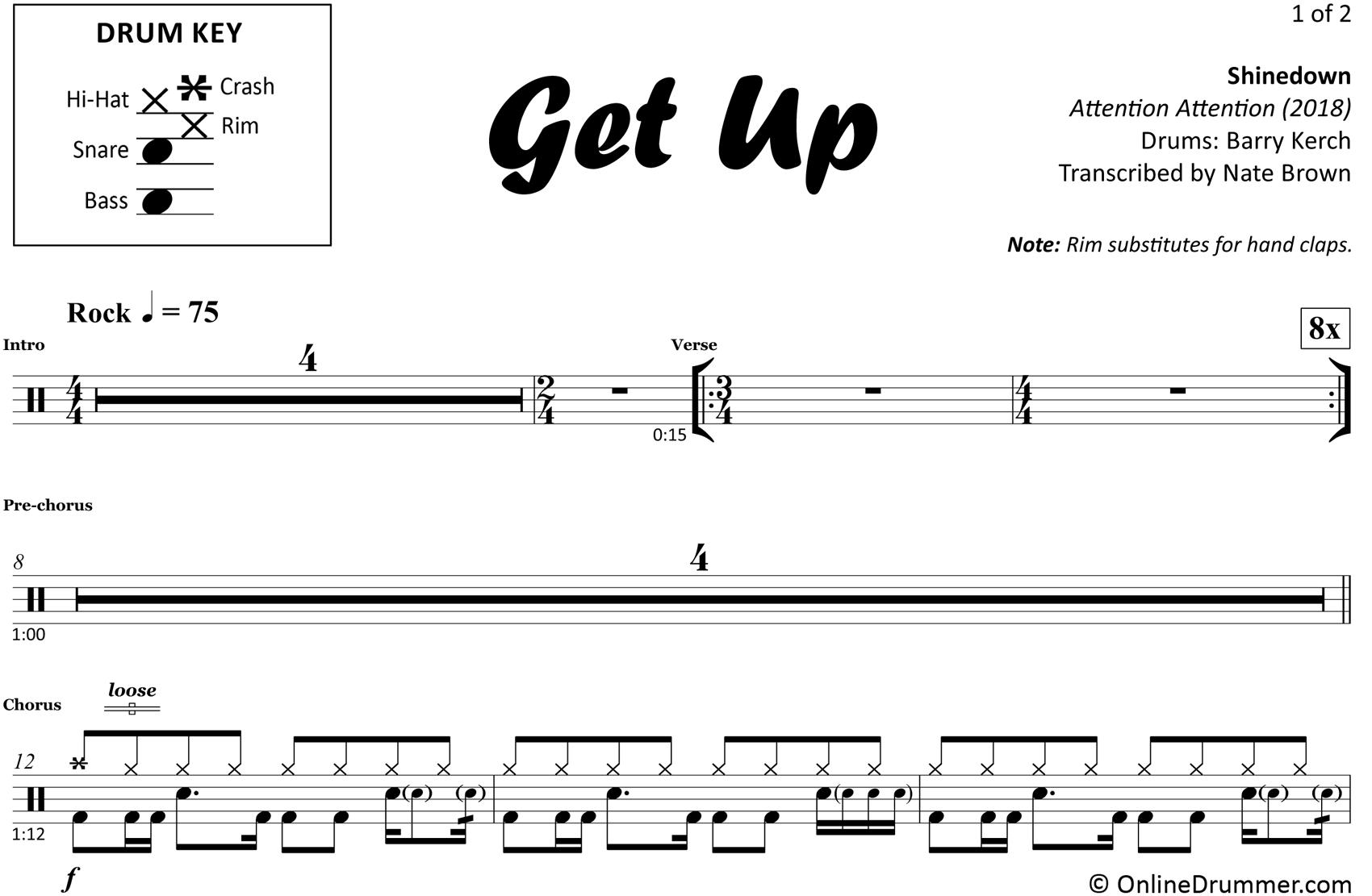 Get Up - Shinedown - Drum Sheet Music