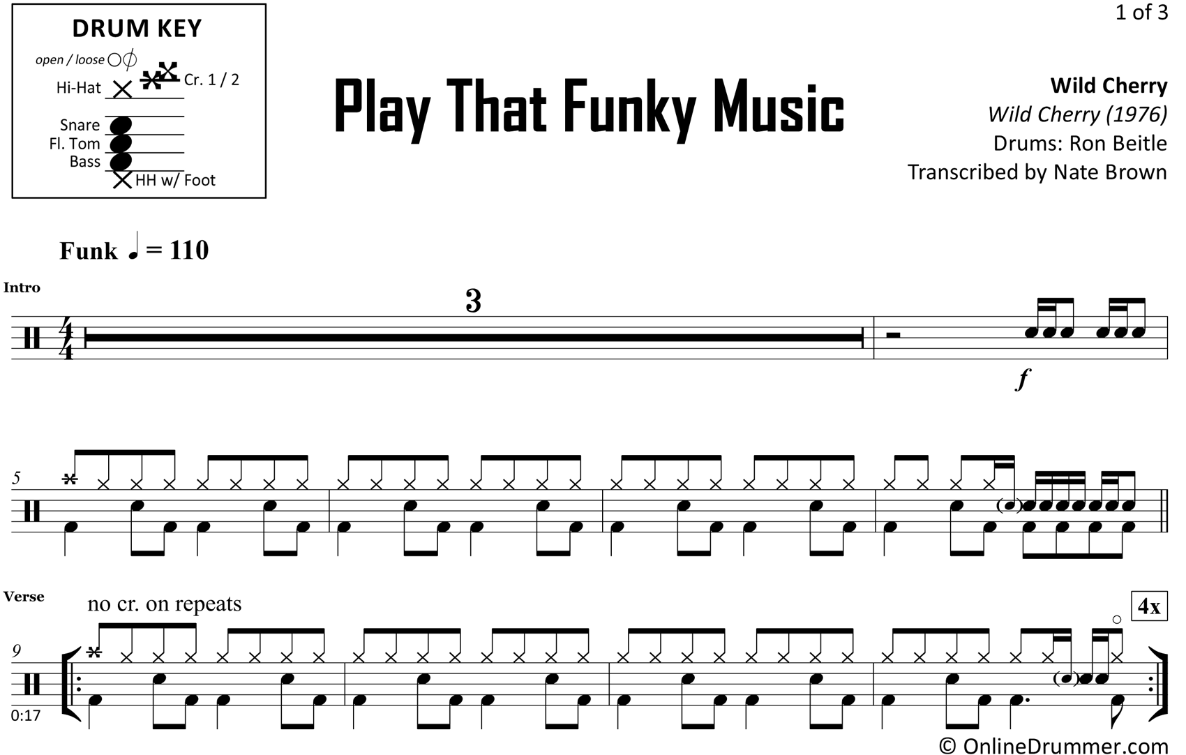 Play That Funky Music - Wild Cherry - Drum Sheet Music