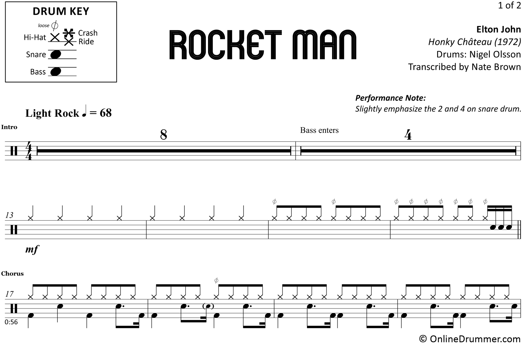 Rocket Man -Elton John - Drum Sheet Music