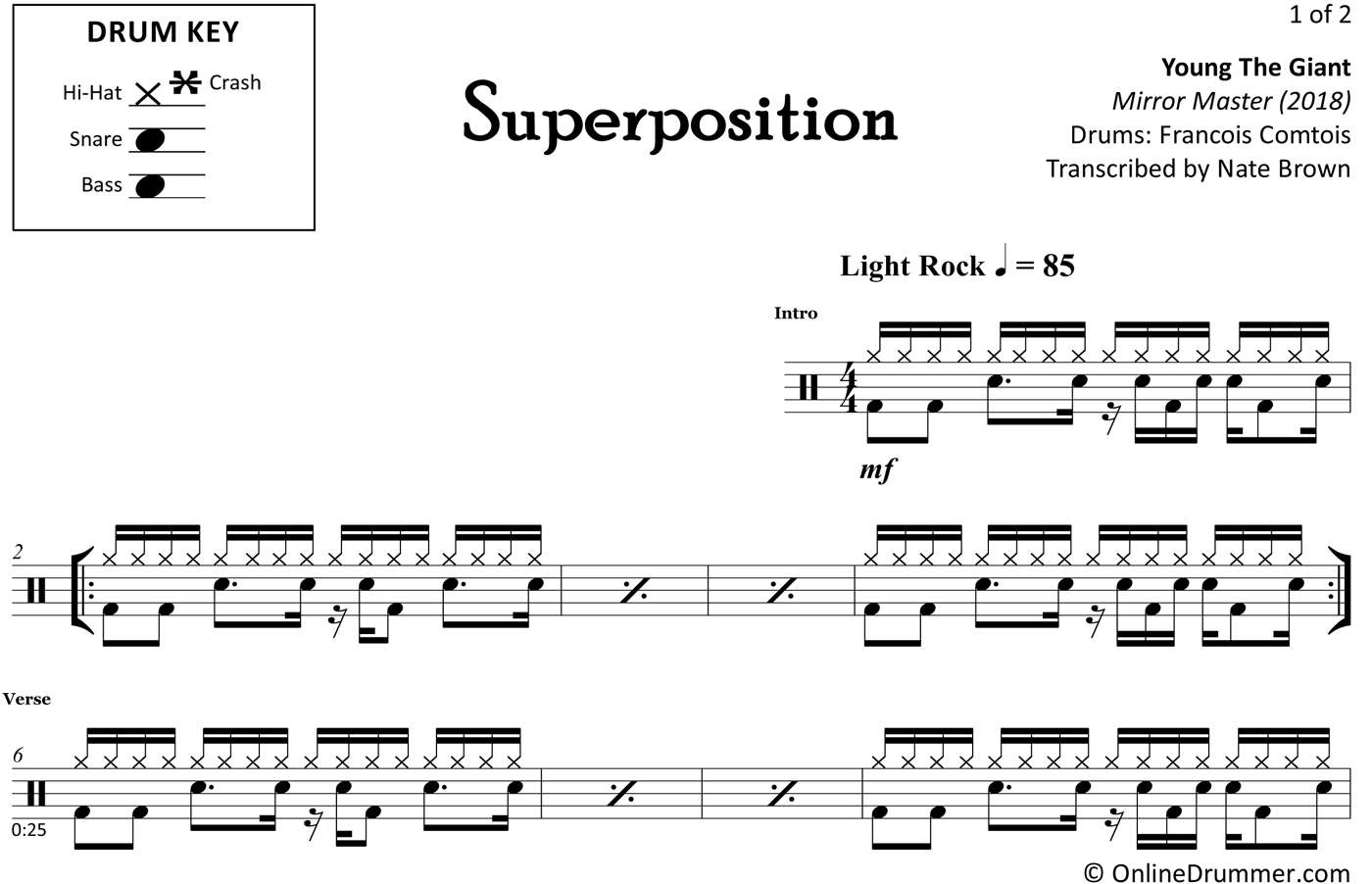Superposition - Young The Giant - Drum Sheet Music