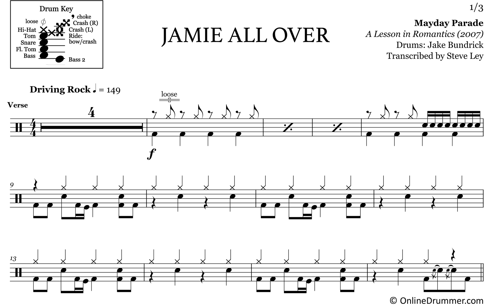Jamie All Over - Mayday Parade - Drum Sheet Music