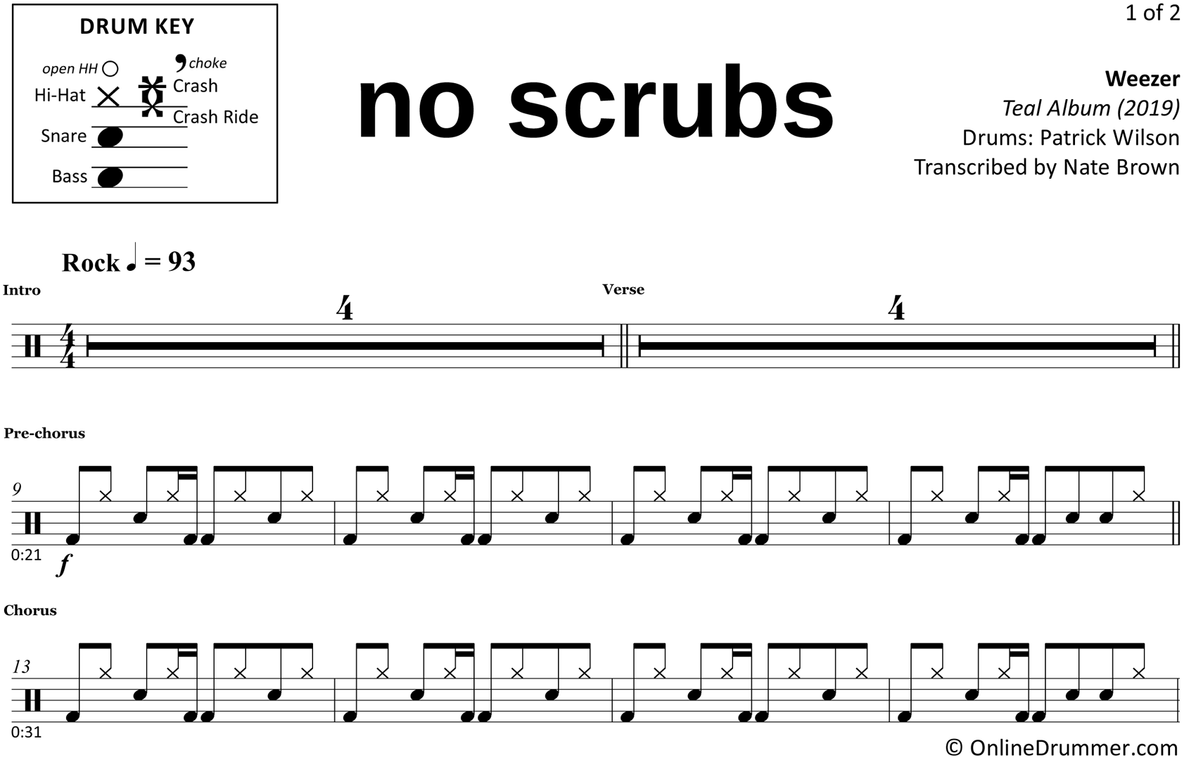 No Scrubs - Weezer - Drum Sheet Music