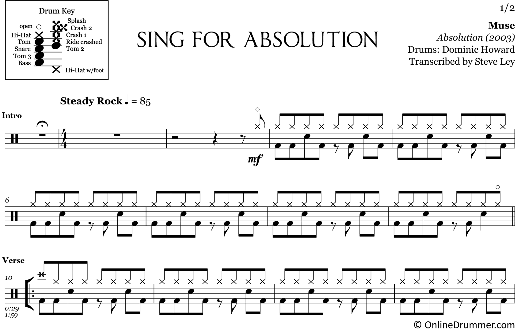 Sing For Absolution - Muse - Drum Sheet Music