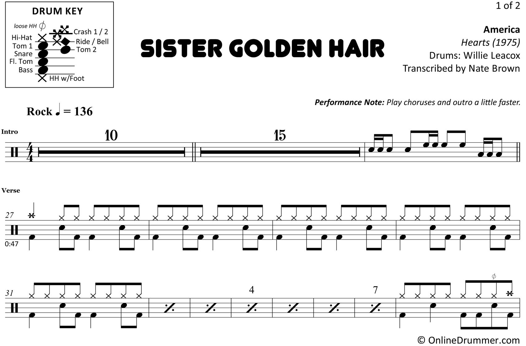 Sister Golden Hair - America - Drum Sheet Music