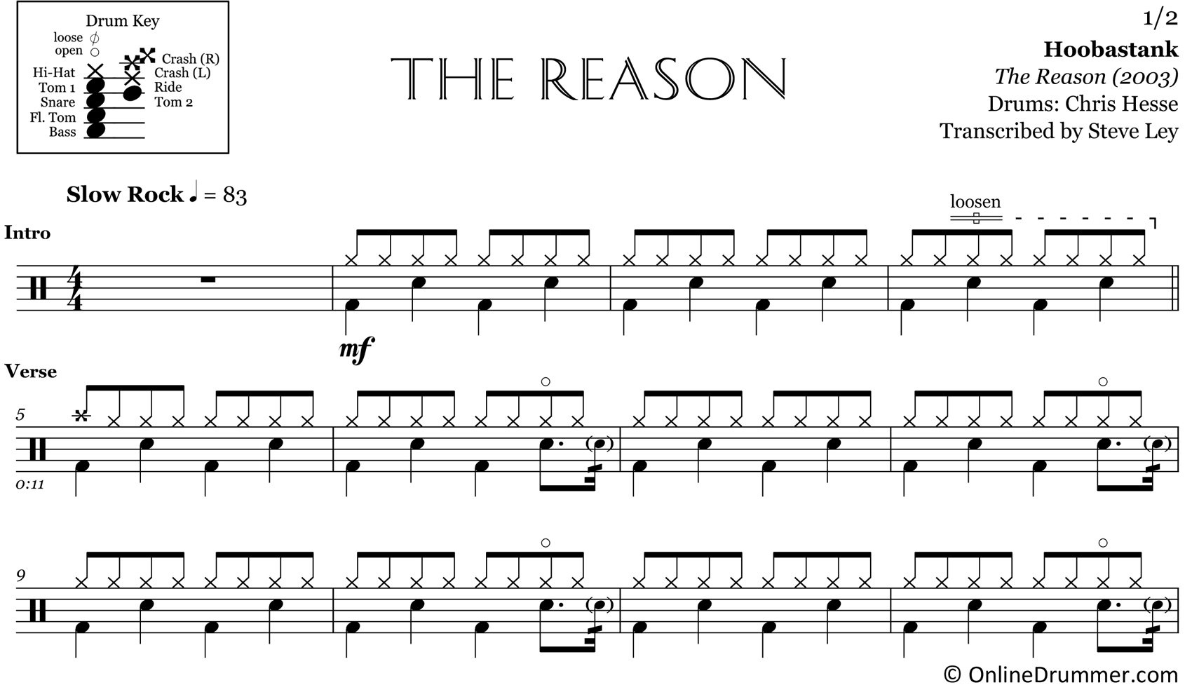 The Reason - Hoobastank - Drum Sheet Music