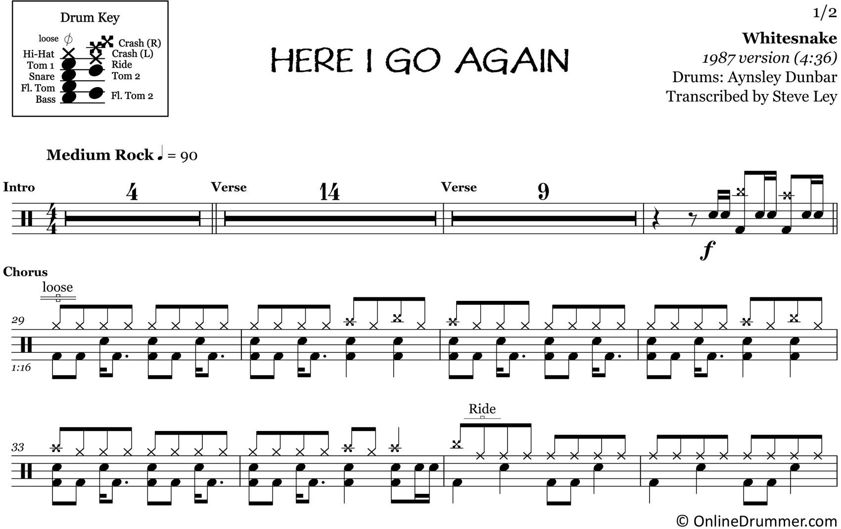 Here I Go Again - Whitesnake - Drum Sheet Music