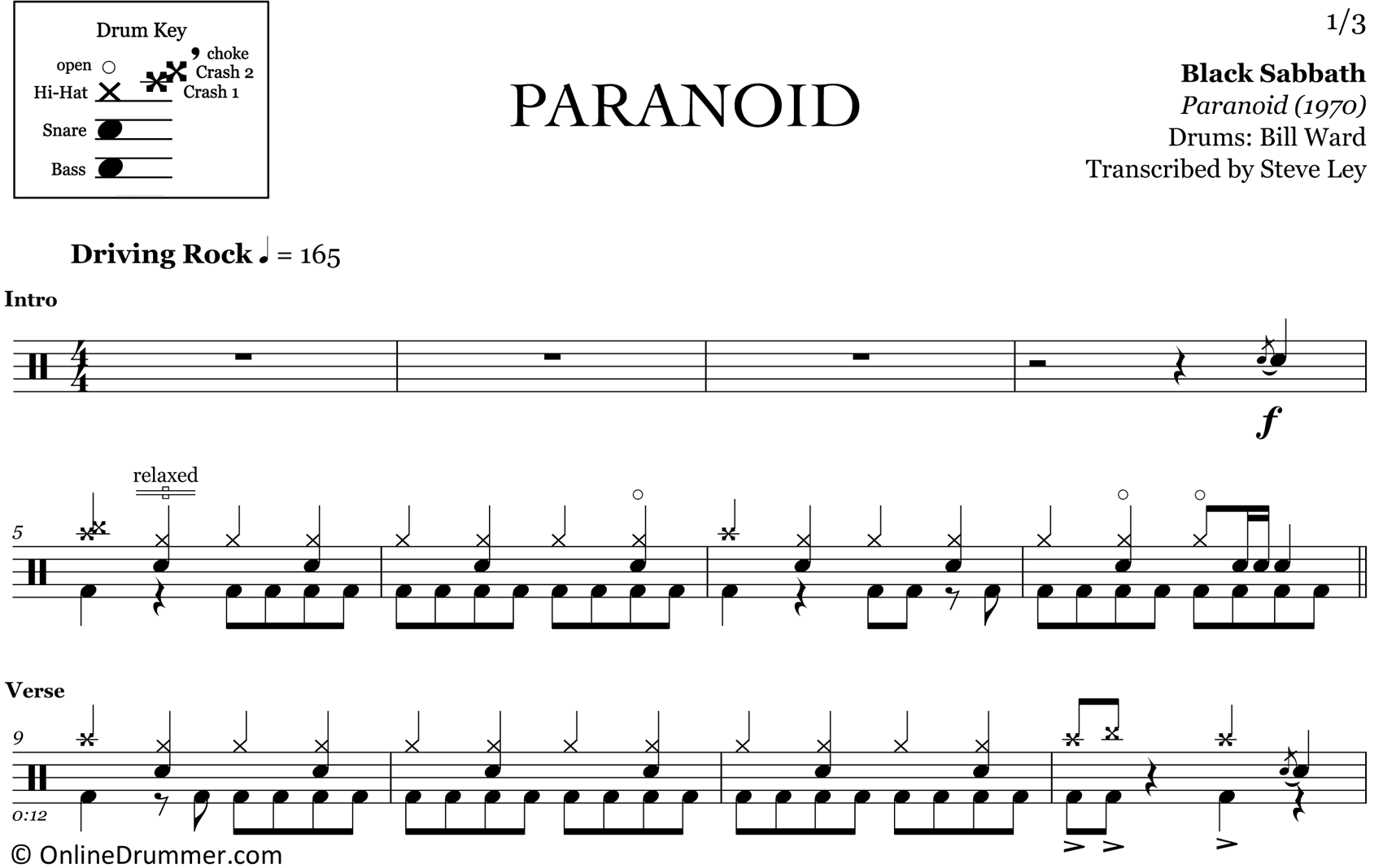 Paranoid - Black Sabbath - Drum Sheet Music