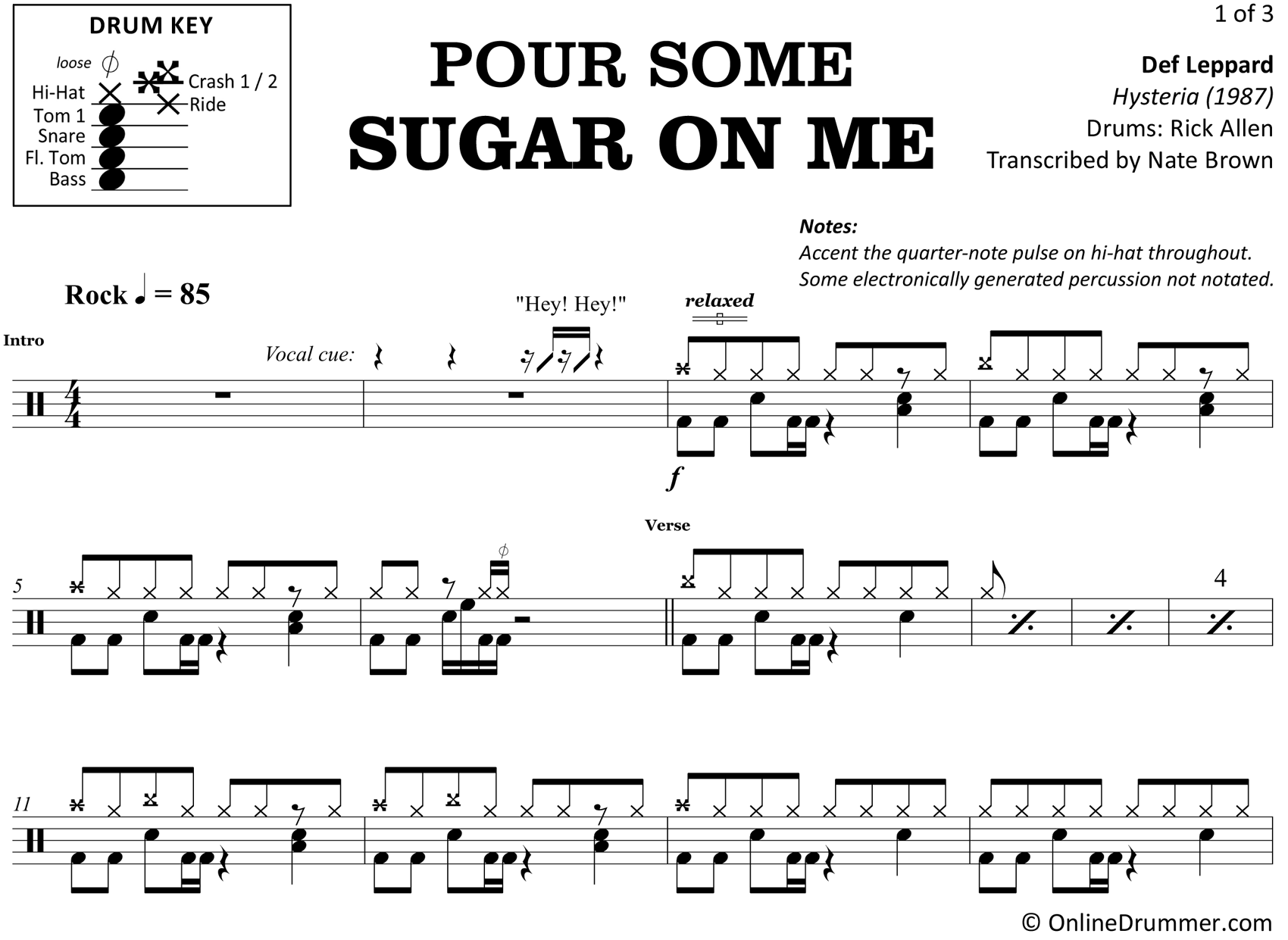 Pour Some Sugar on Me - Def Leppard - Drum Sheet Music