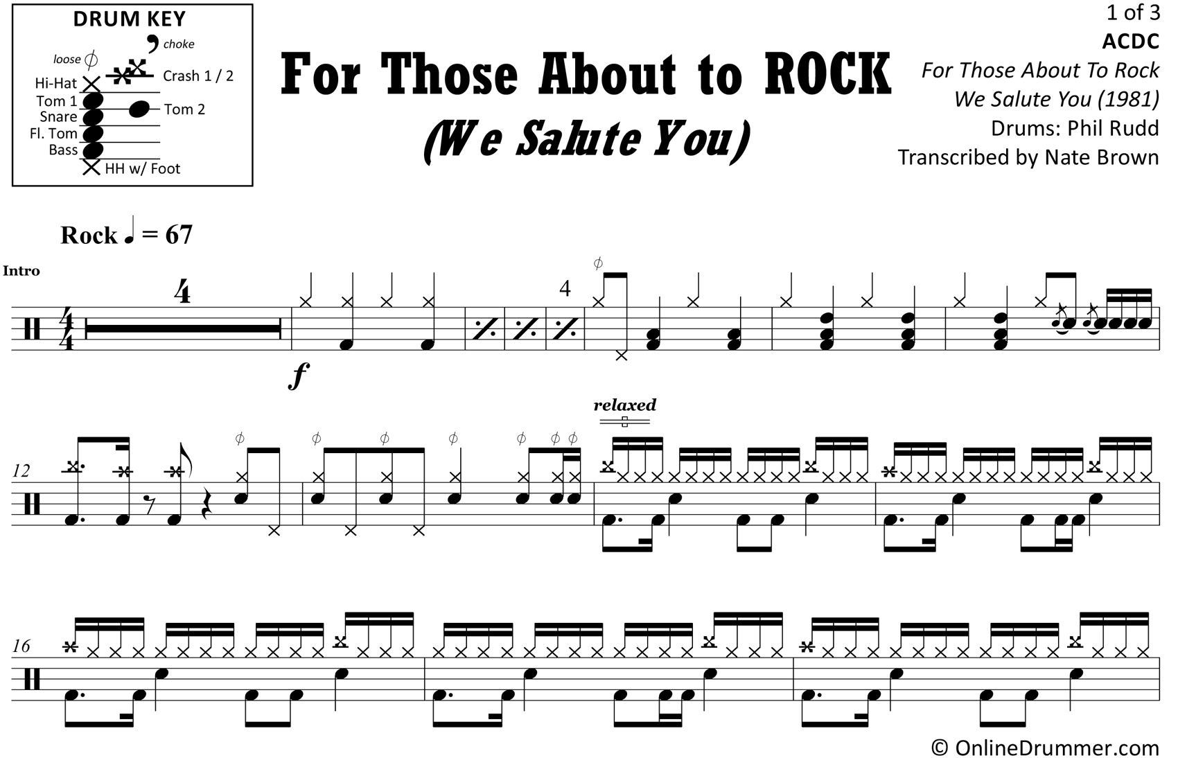 For Those About To Rock (We Salute You) - ACDC - Drum Sheet Music