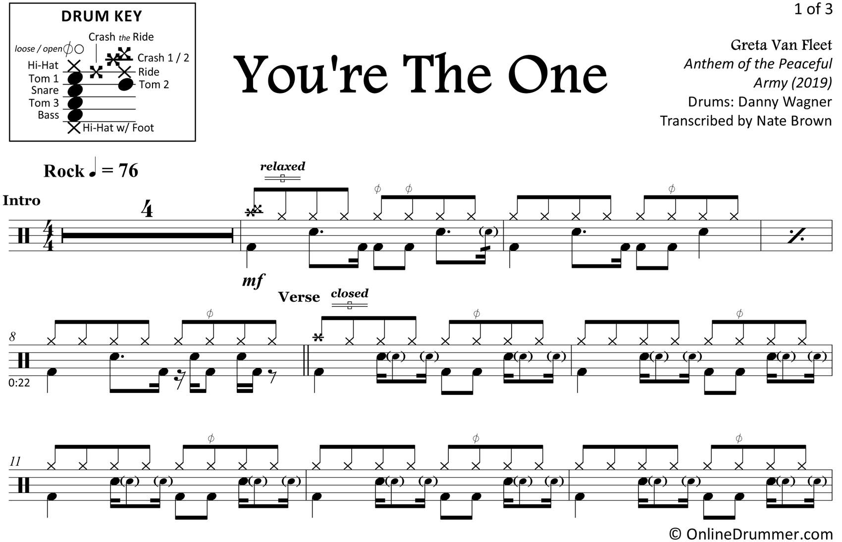 You're The One - Greta Van Fleet - Drum Sheet Music