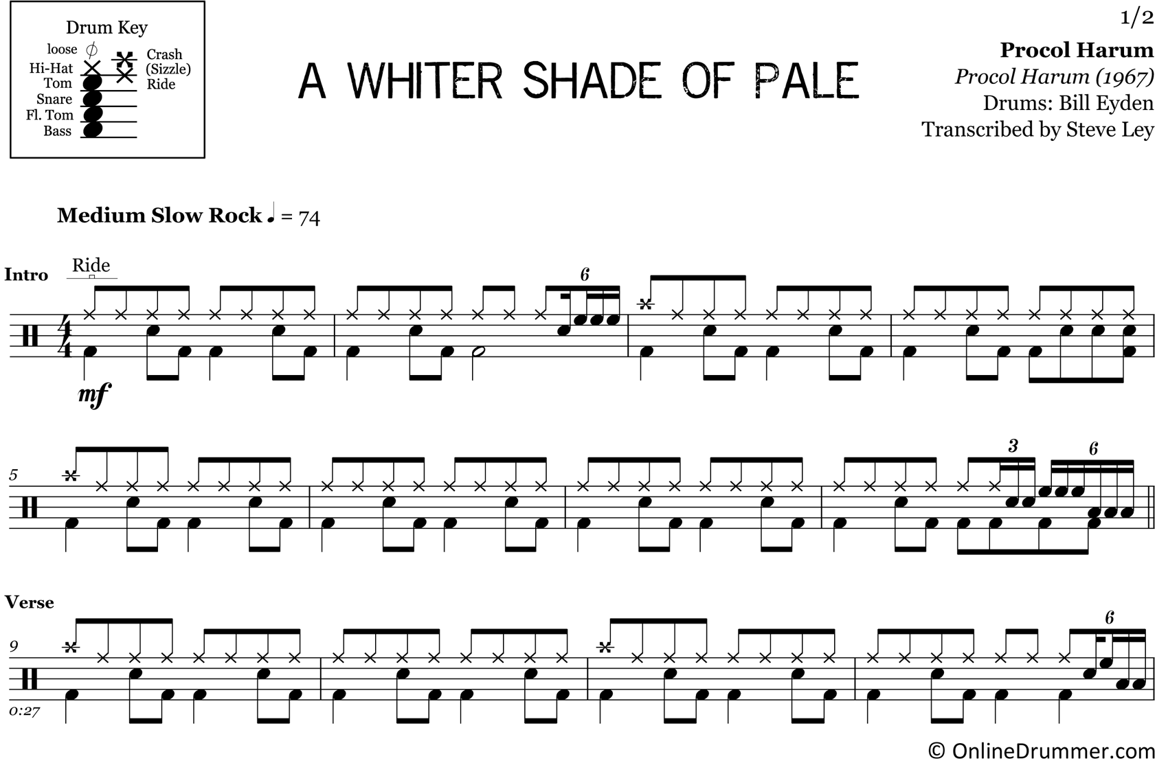 A Whiter Shade Of Pale - Procol Harum - Drum Sheet Music