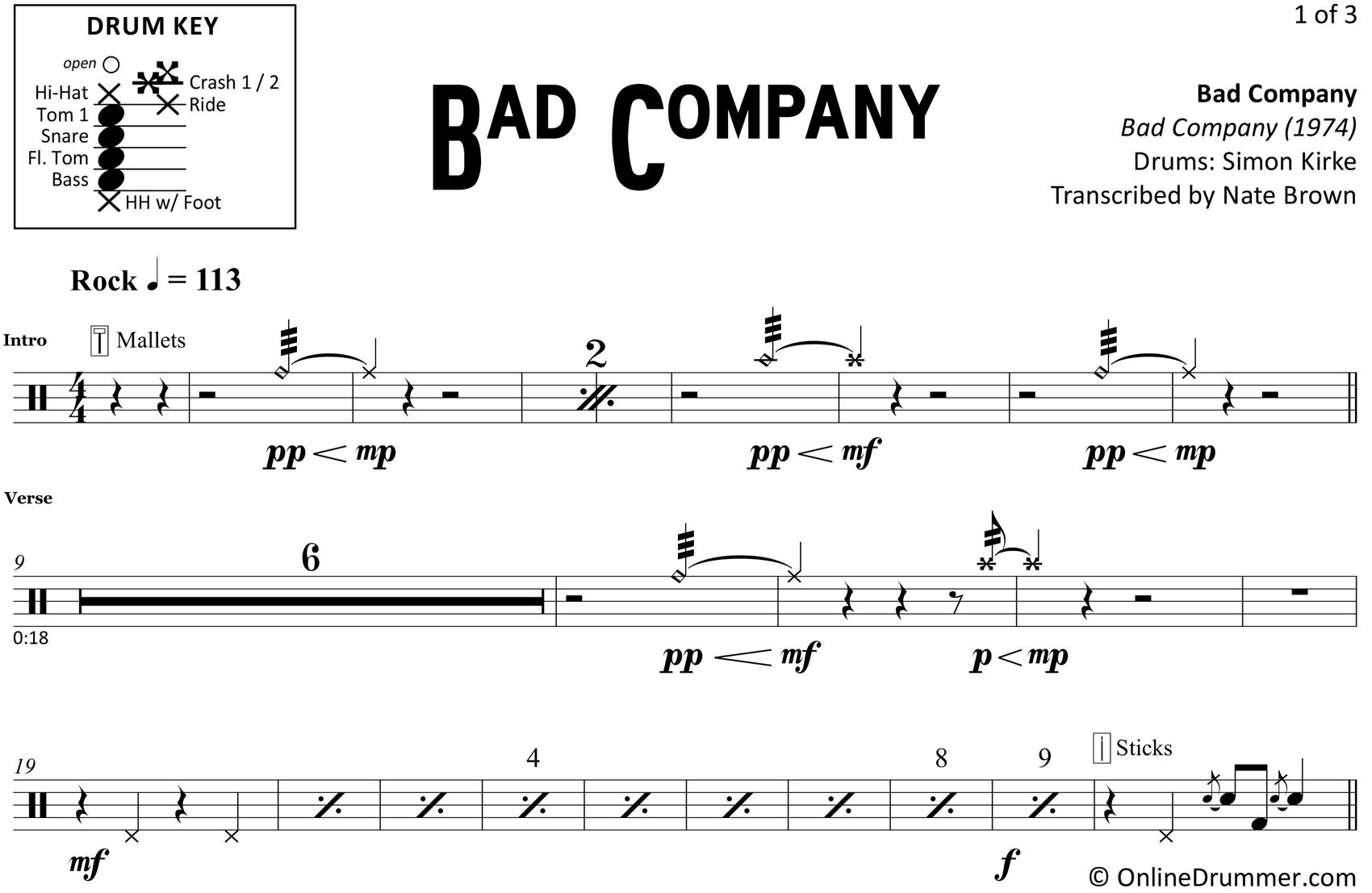 Bad Company - Bad Company - Drum Sheet Music