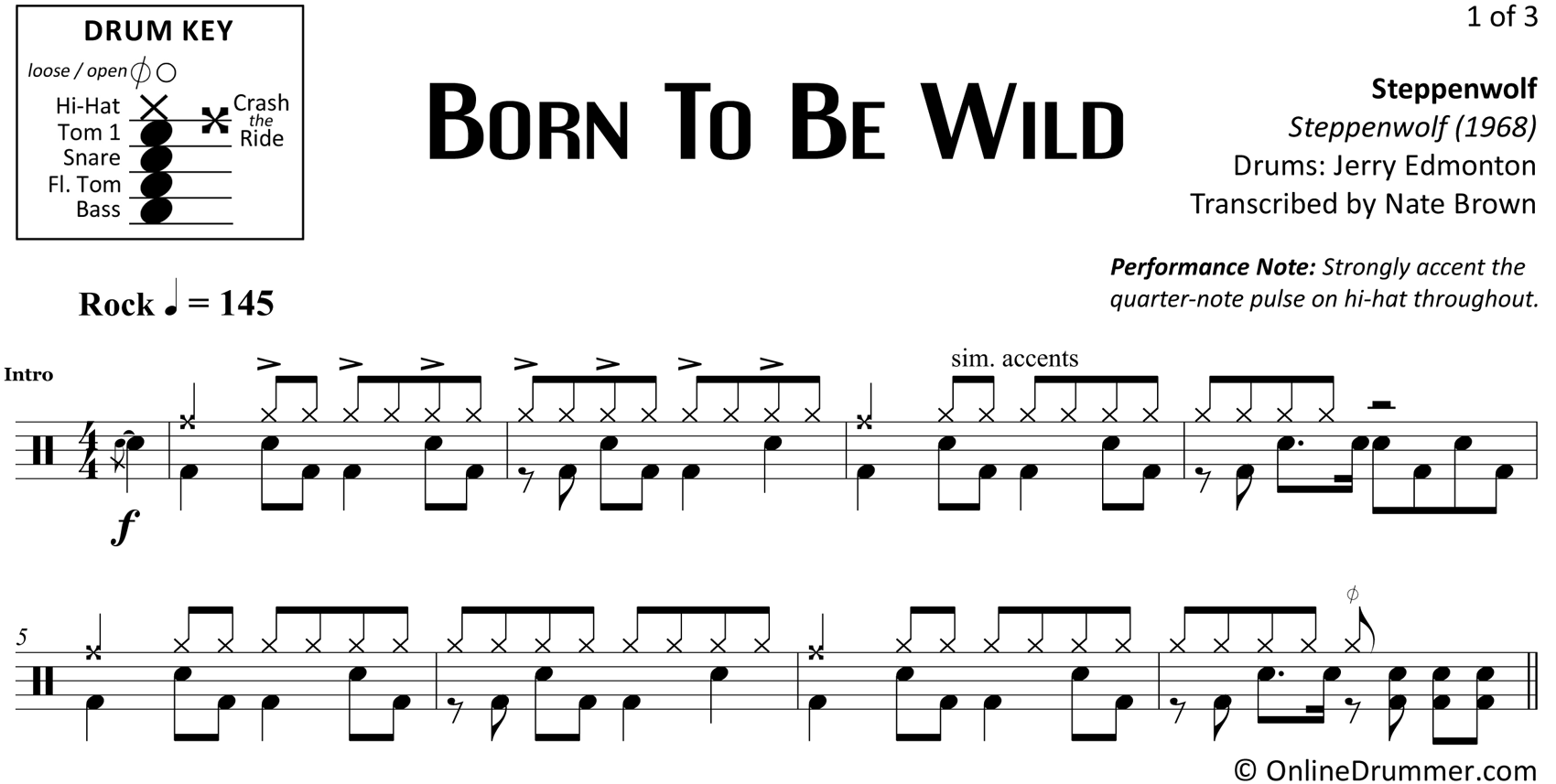 Born To Be Wild - Steppenwolf - Drum Sheet Music