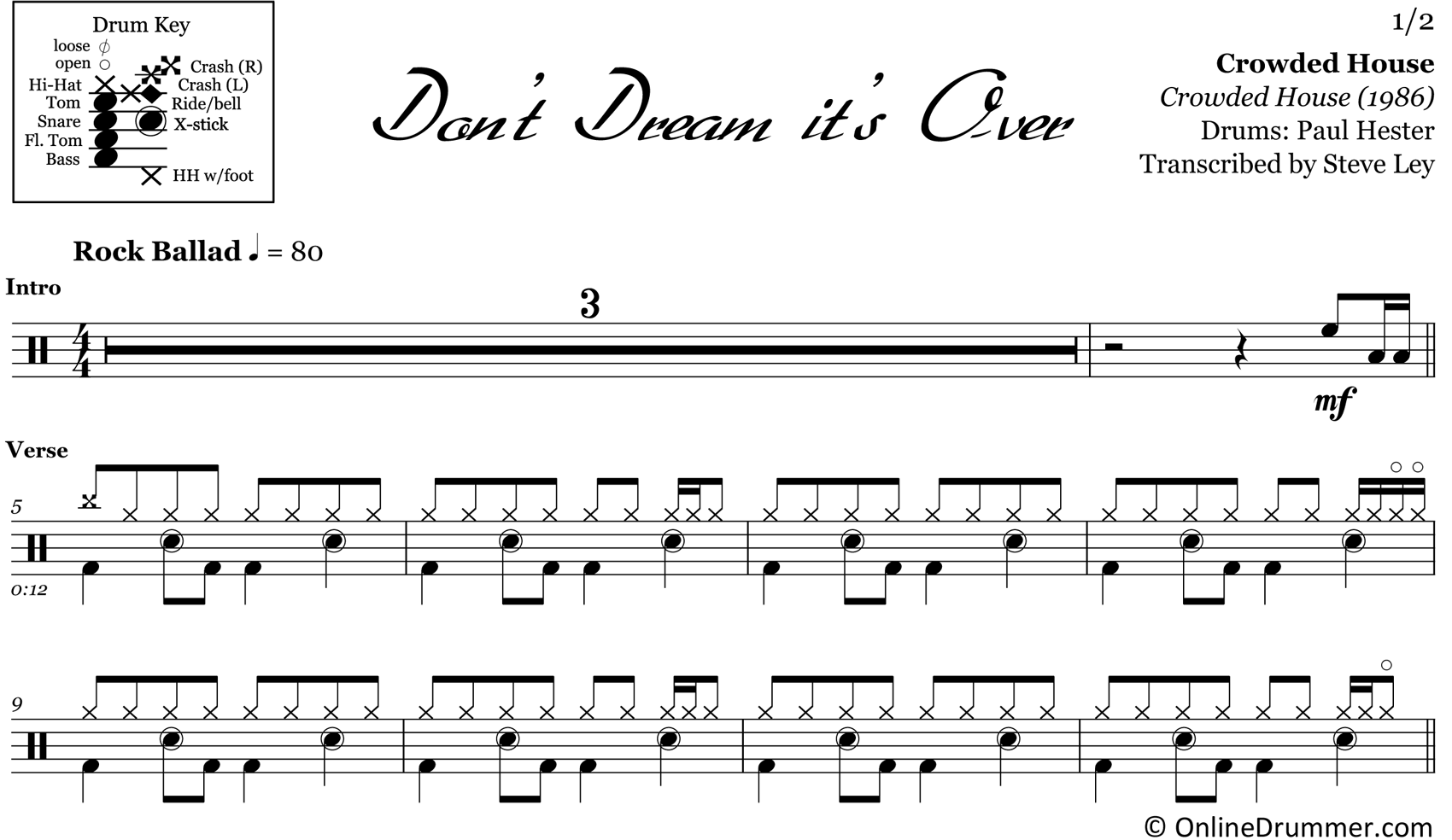 Don't Dream It's Over - Crowded House - Drum Sheet Music