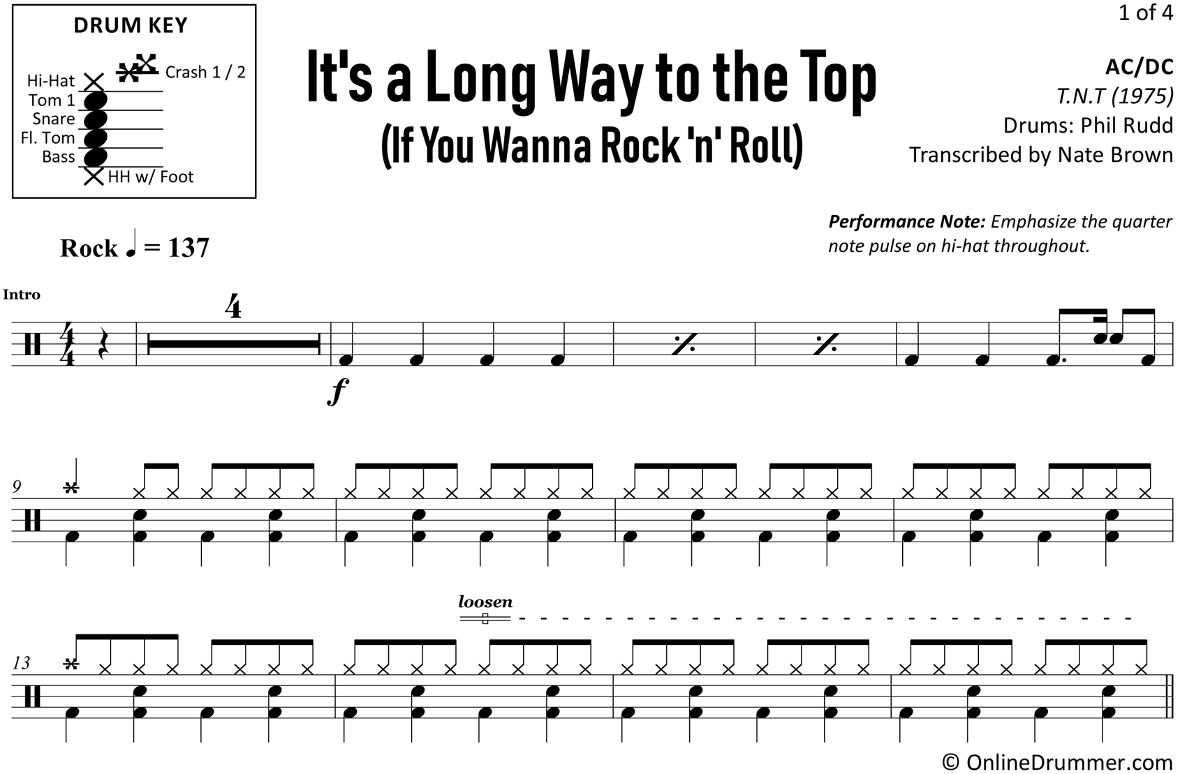 It's a Long Way to the Top (If You Wanna Rock 'n' Roll) - Drum Sheet Music