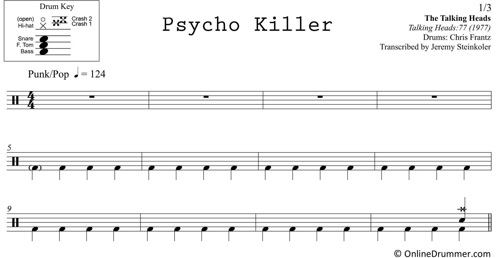 Psycho Killer - Talking Heads - Drum Sheet Music