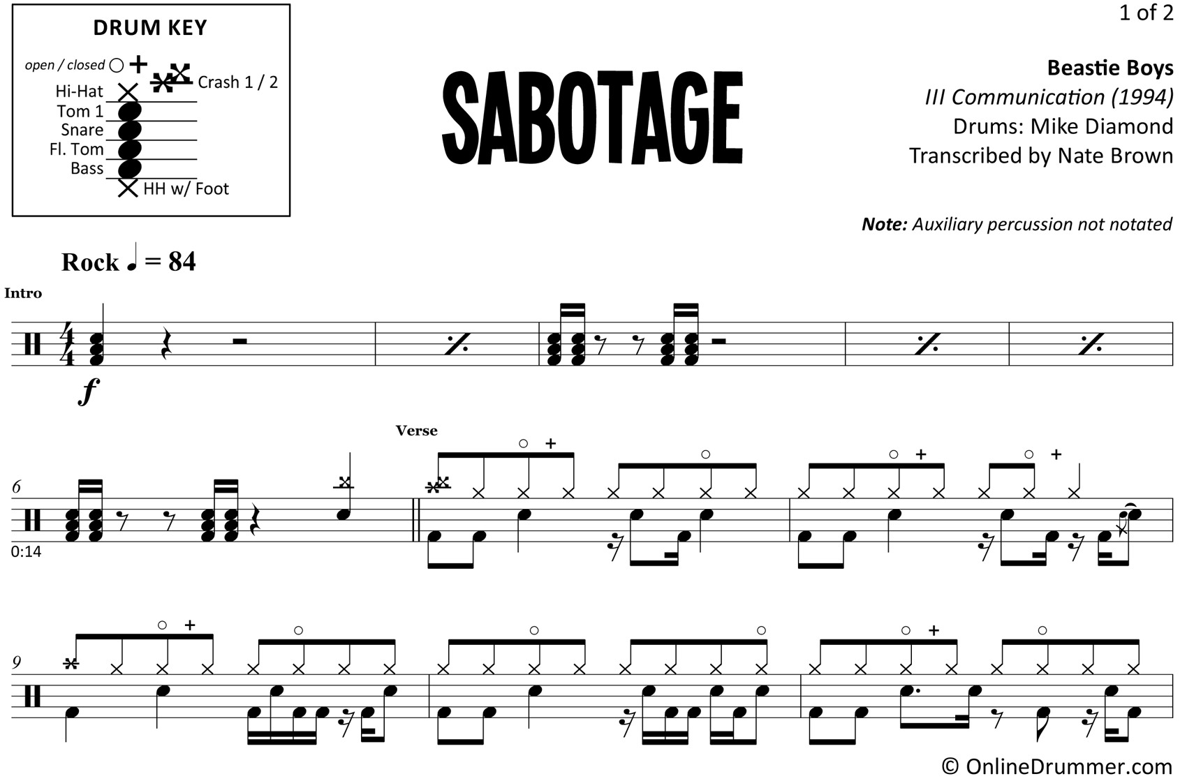 Sabotage - Beastie Boys - Drum Sheet Music