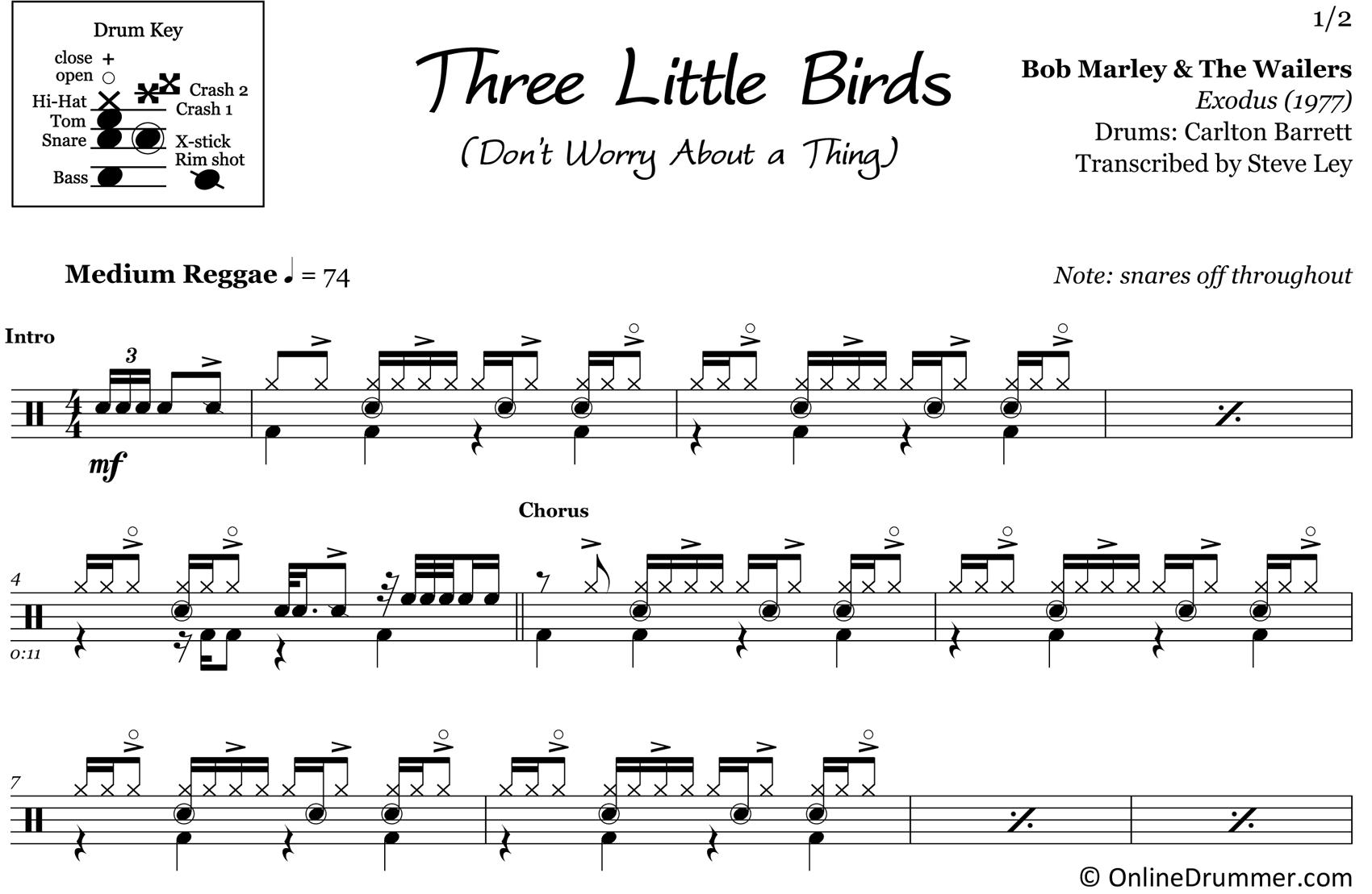 Three Little Birds - Bob Marley & The Wailers - Drum Sheet Music