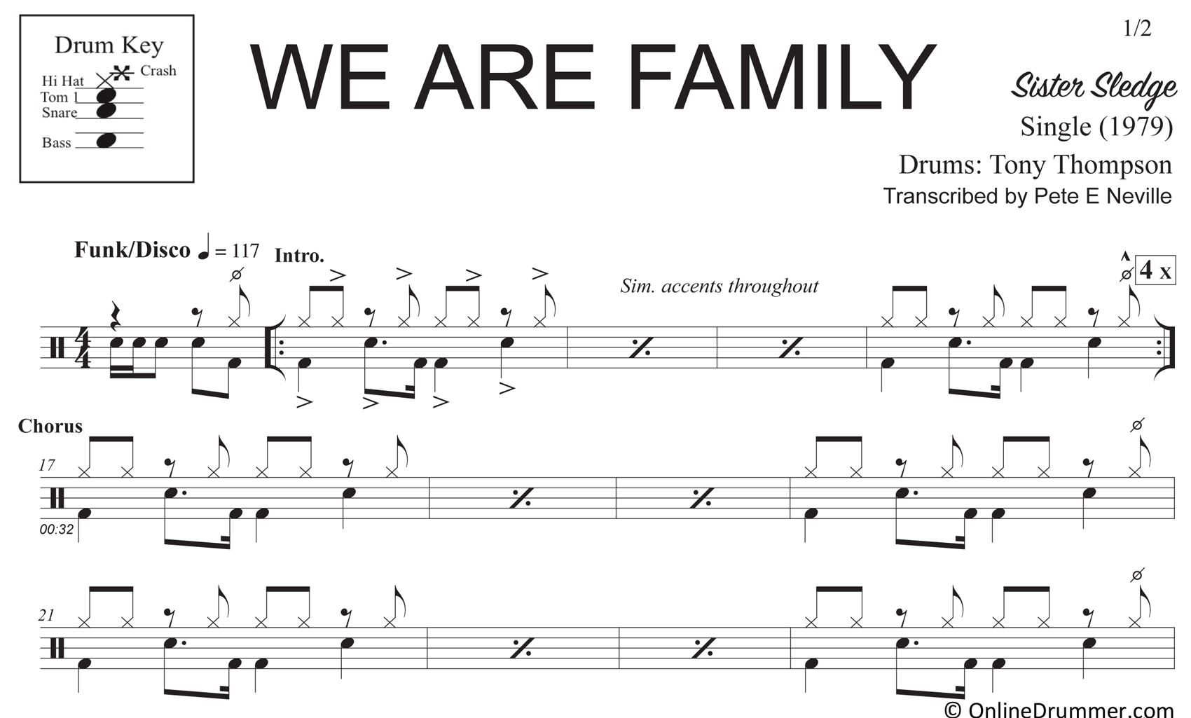 We Are Family - Sister Sledge - Drum Sheet Music