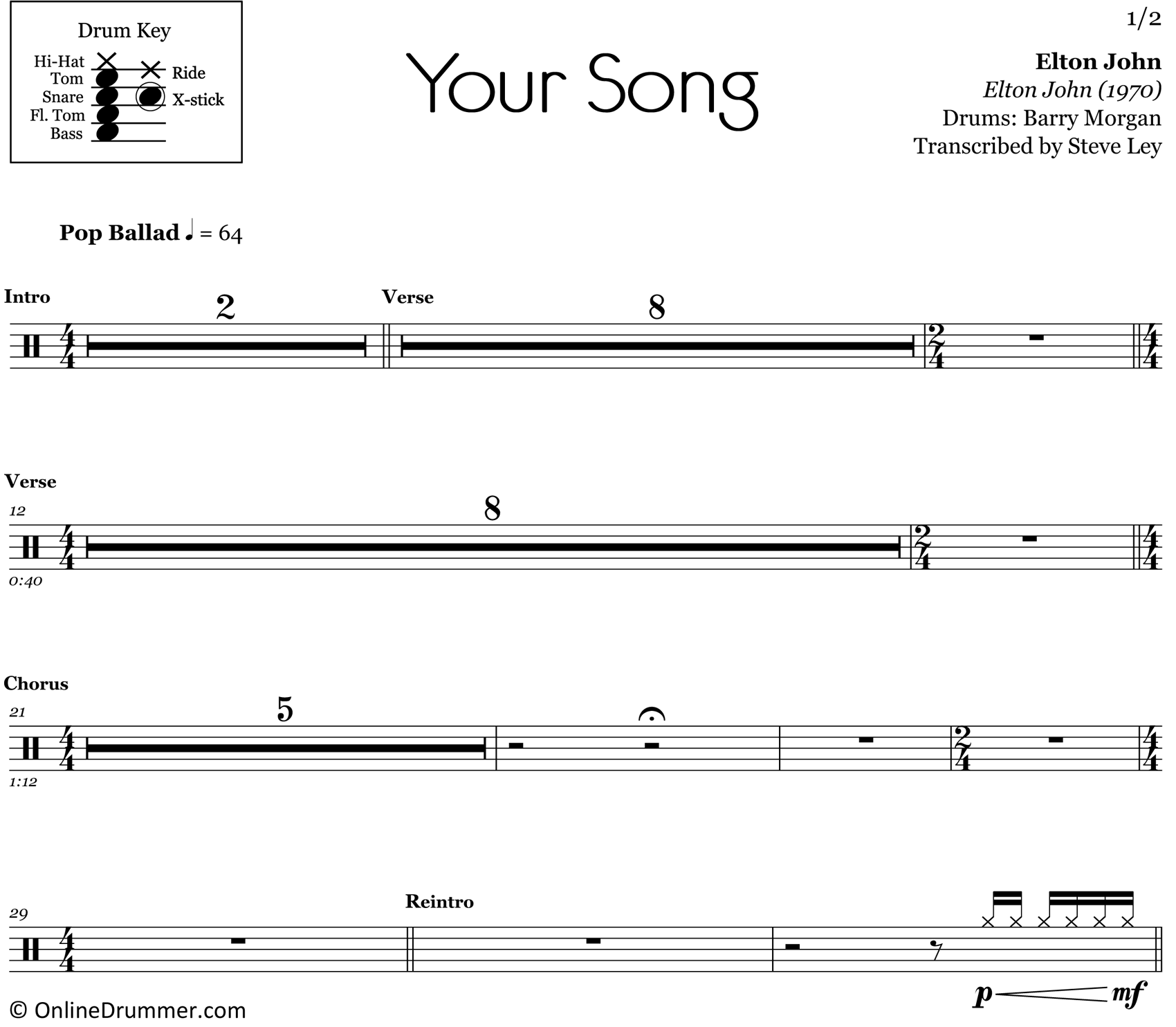 Your Song - Elton John - Drum Sheet Music
