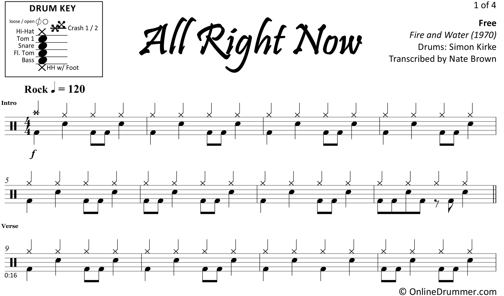 All Right Now - Free - Drum Sheet Music