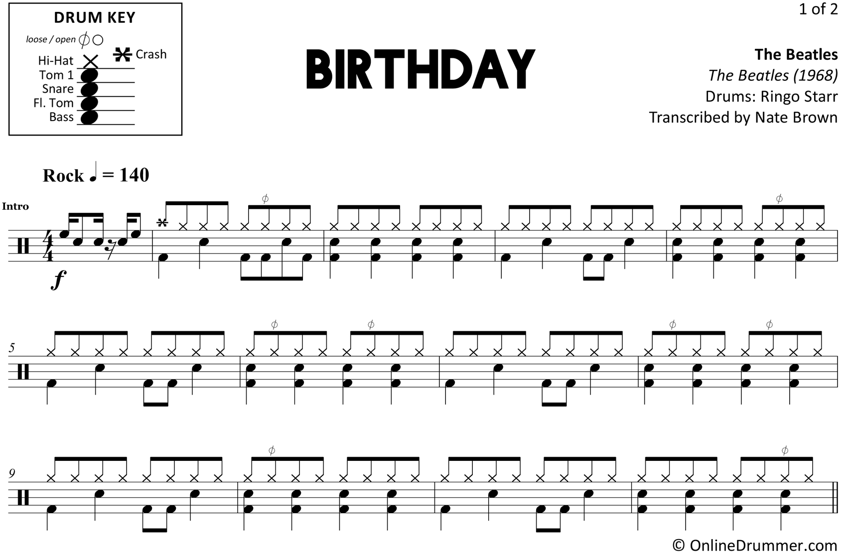 Birthday - The Beatles - Drum Sheet Music