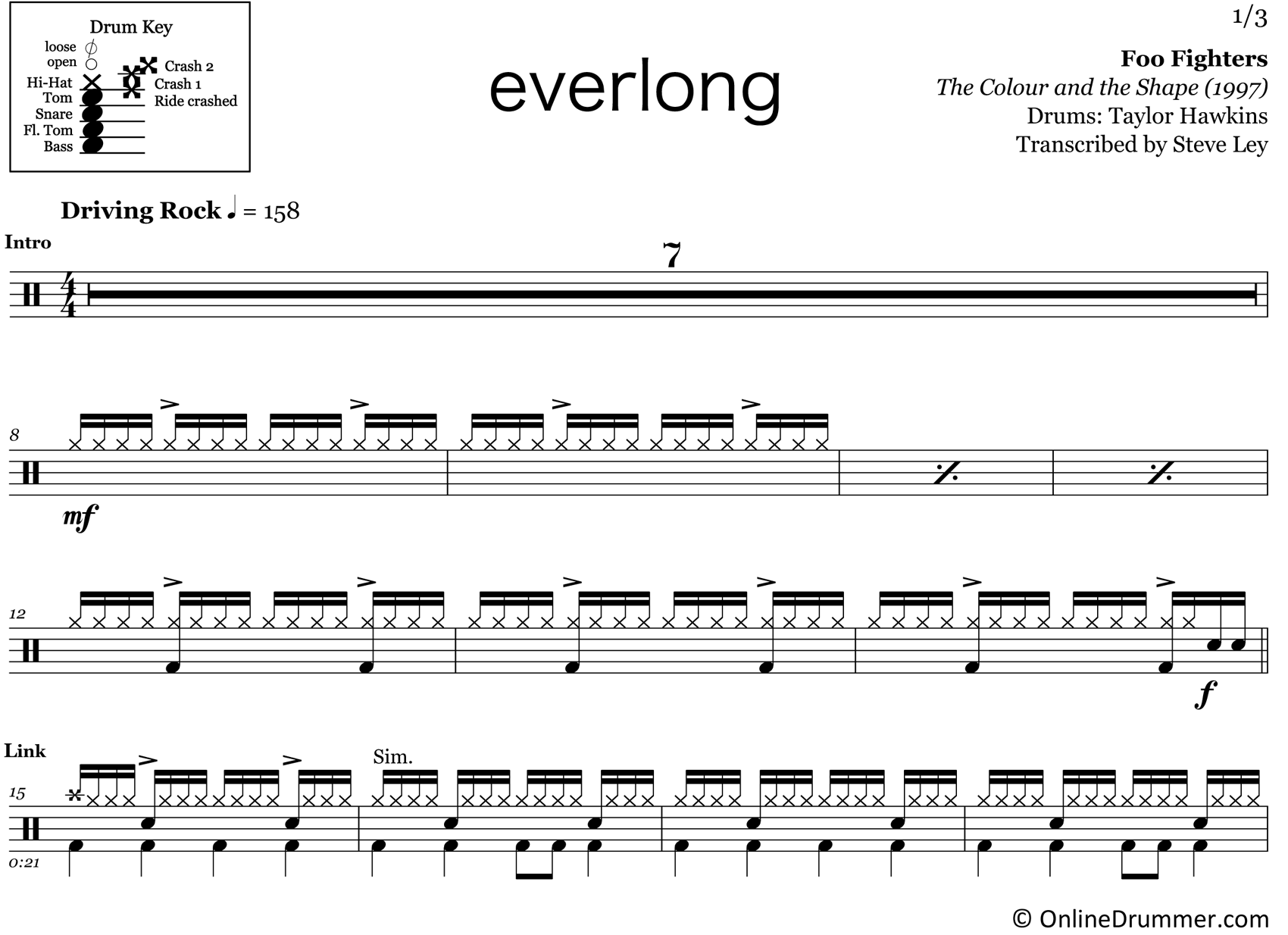 Everlong - Foo Fighters - Drum Sheet Music