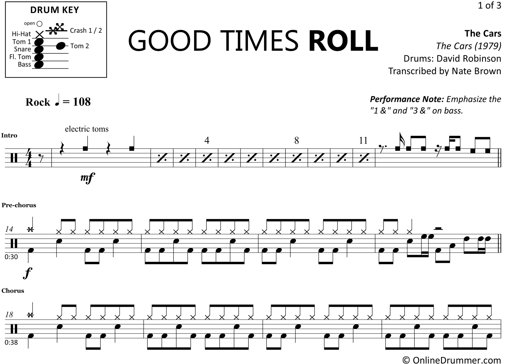 Good Times Roll - The Cars - Drum Sheet Music