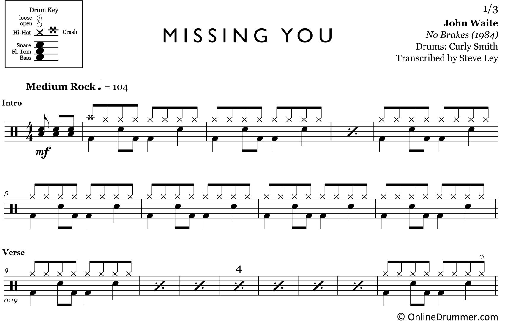 Missing You - John Waite - Drum Sheet Music