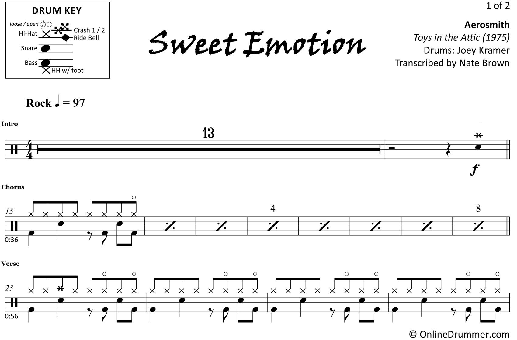 Sweet Emotion - Aerosmith - Drum Sheet Music