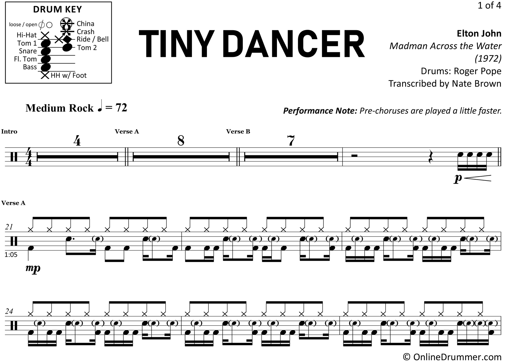 Tiny Dancer - Elton John - Drum Sheet Music