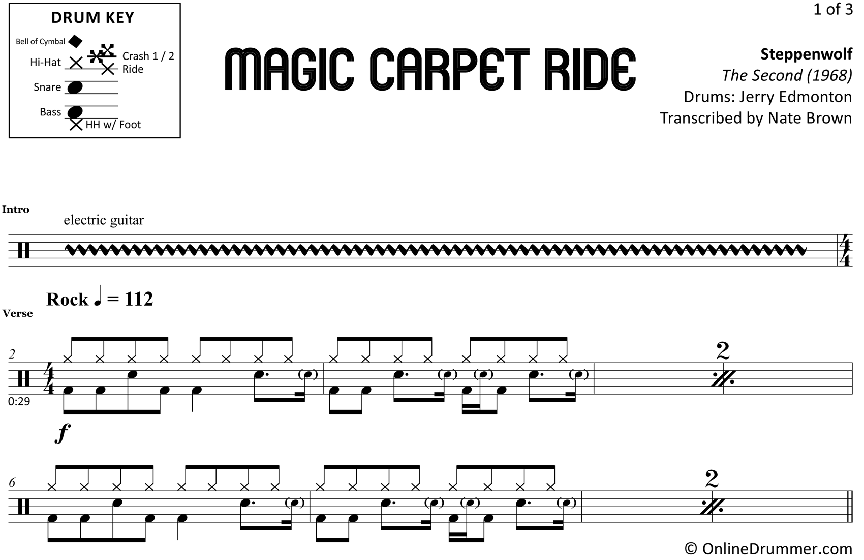 Magic Carpet Ride - Steppenwolf - Drum Sheet Music
