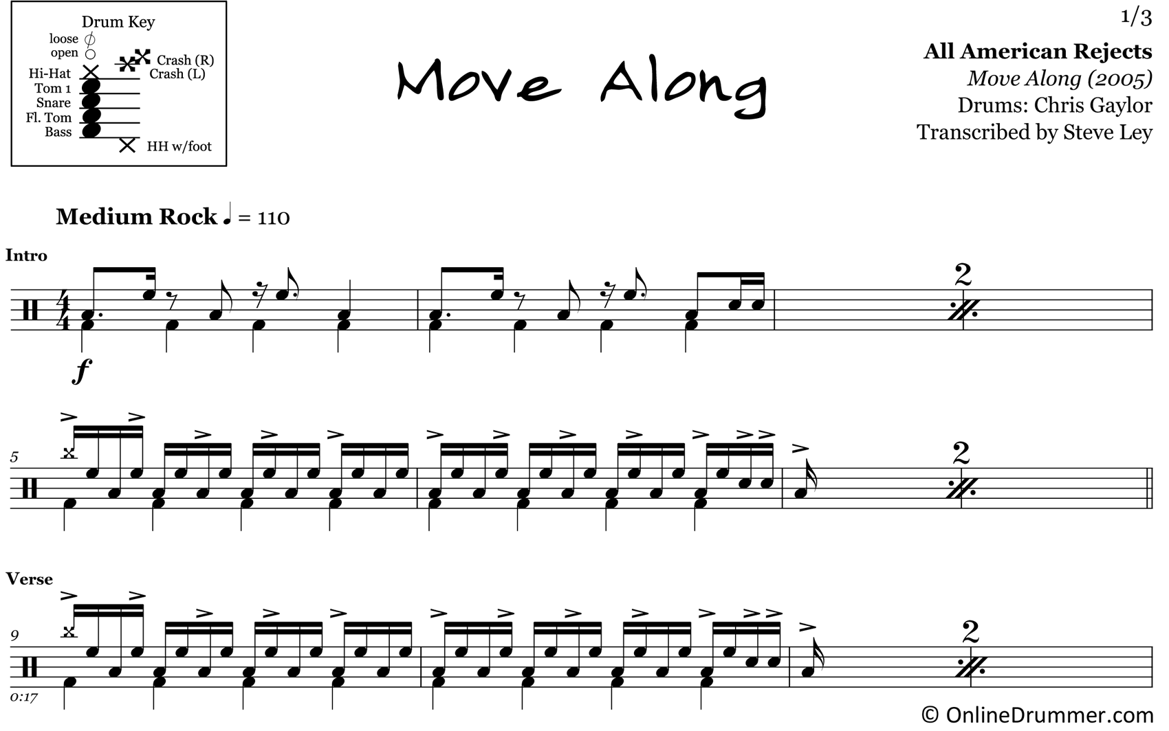 Move Along - All American Rejects - Drum Sheet Music