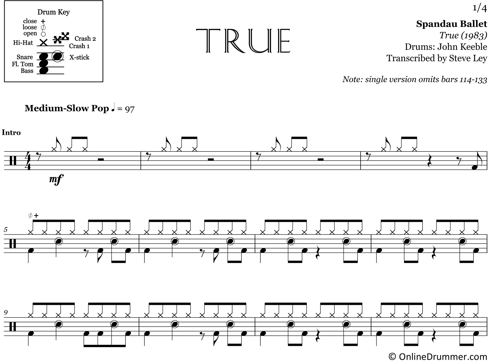 True - Spandau Ballet - Drum Sheet Music