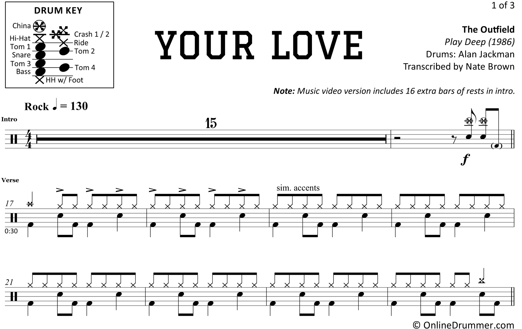 Your Love - The Outfield - Drum Sheet Music