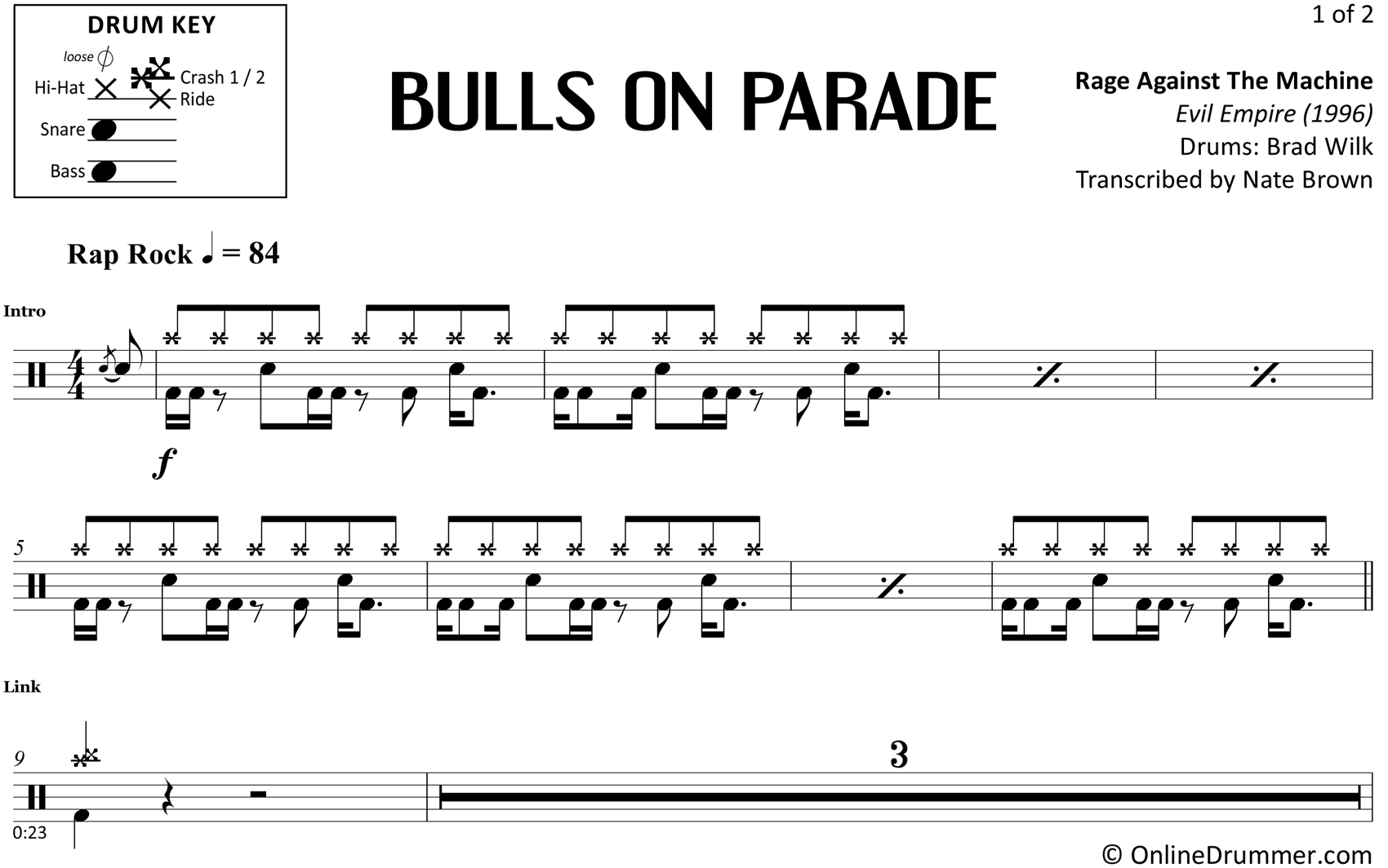Bulls on Parade - Rage Against the Machine - Drum Sheet Music