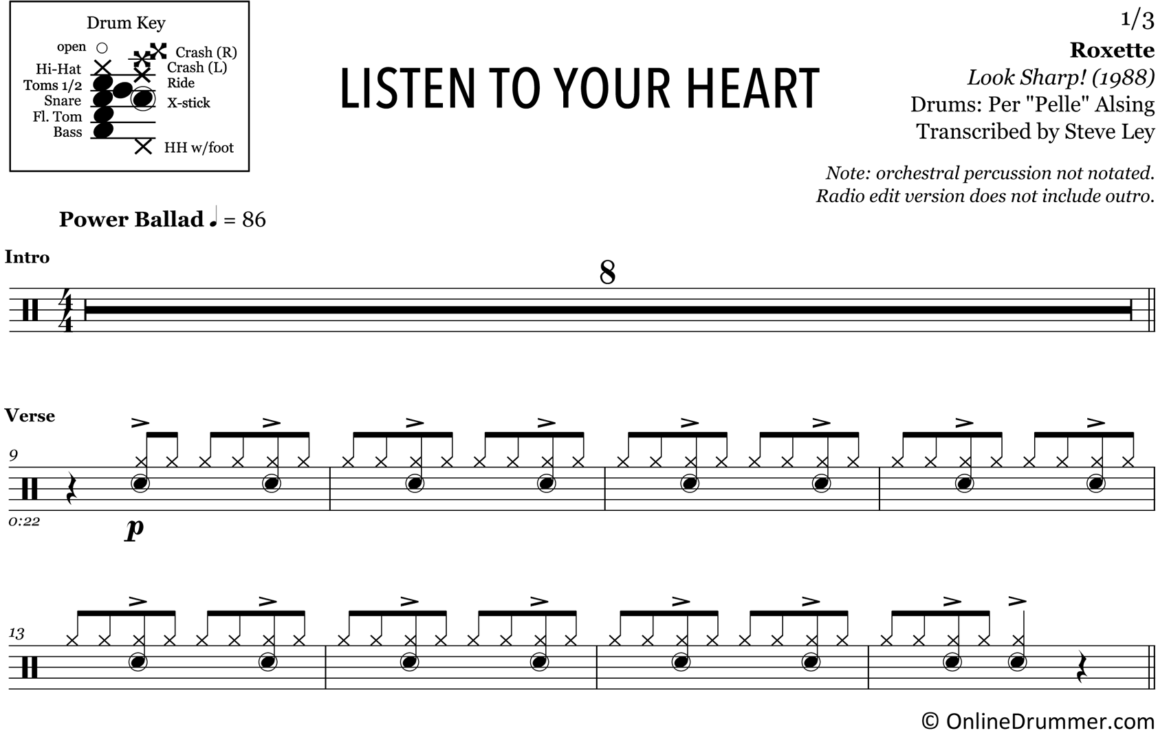 listen to your heart � roxette � drum sheet music