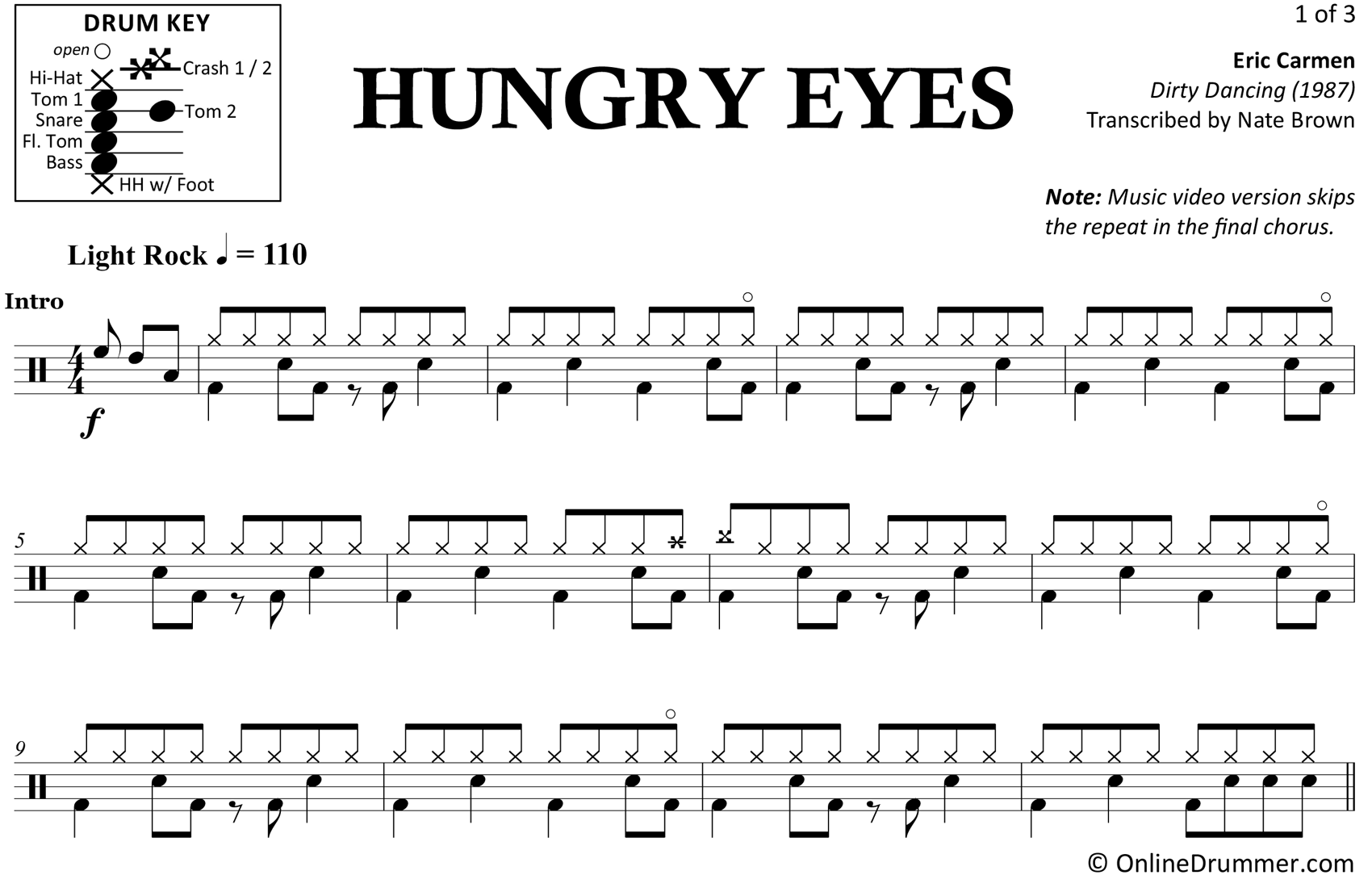 Hungry Eyes - Eric Carmen - Drum Sheet Music