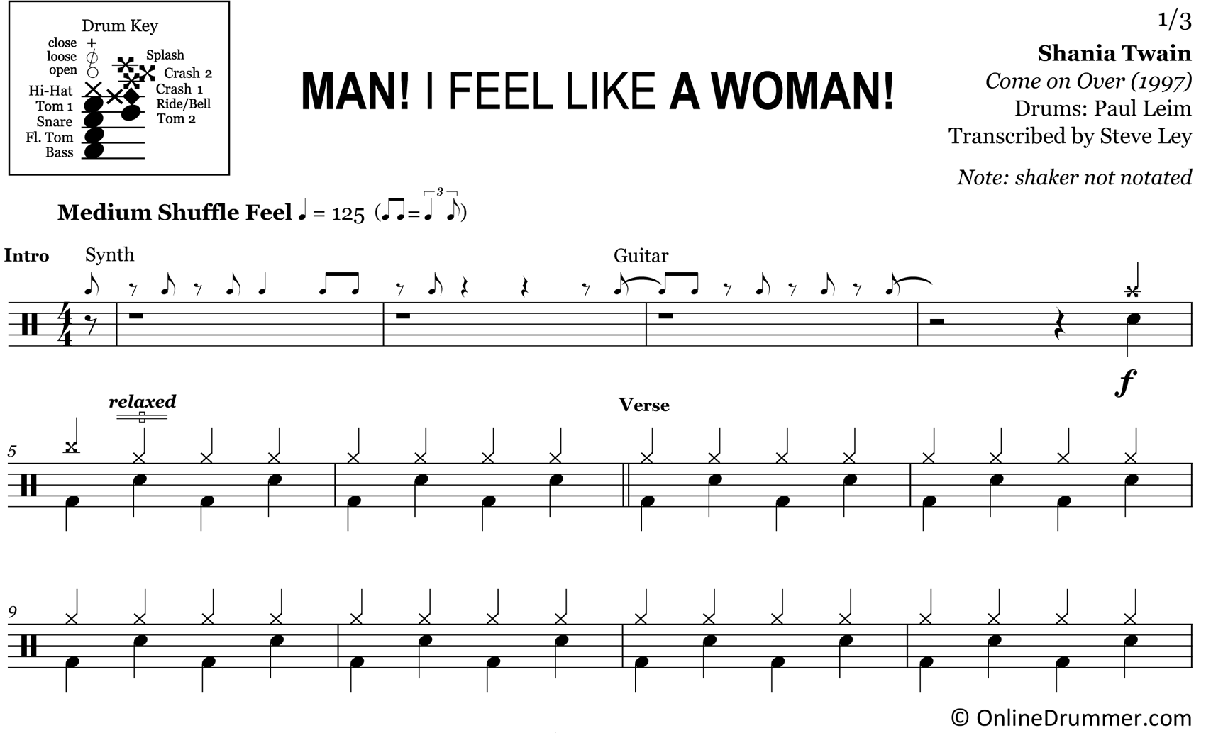 Man! I Feel Like a Woman! - Shania Twain - Drum Sheet Music
