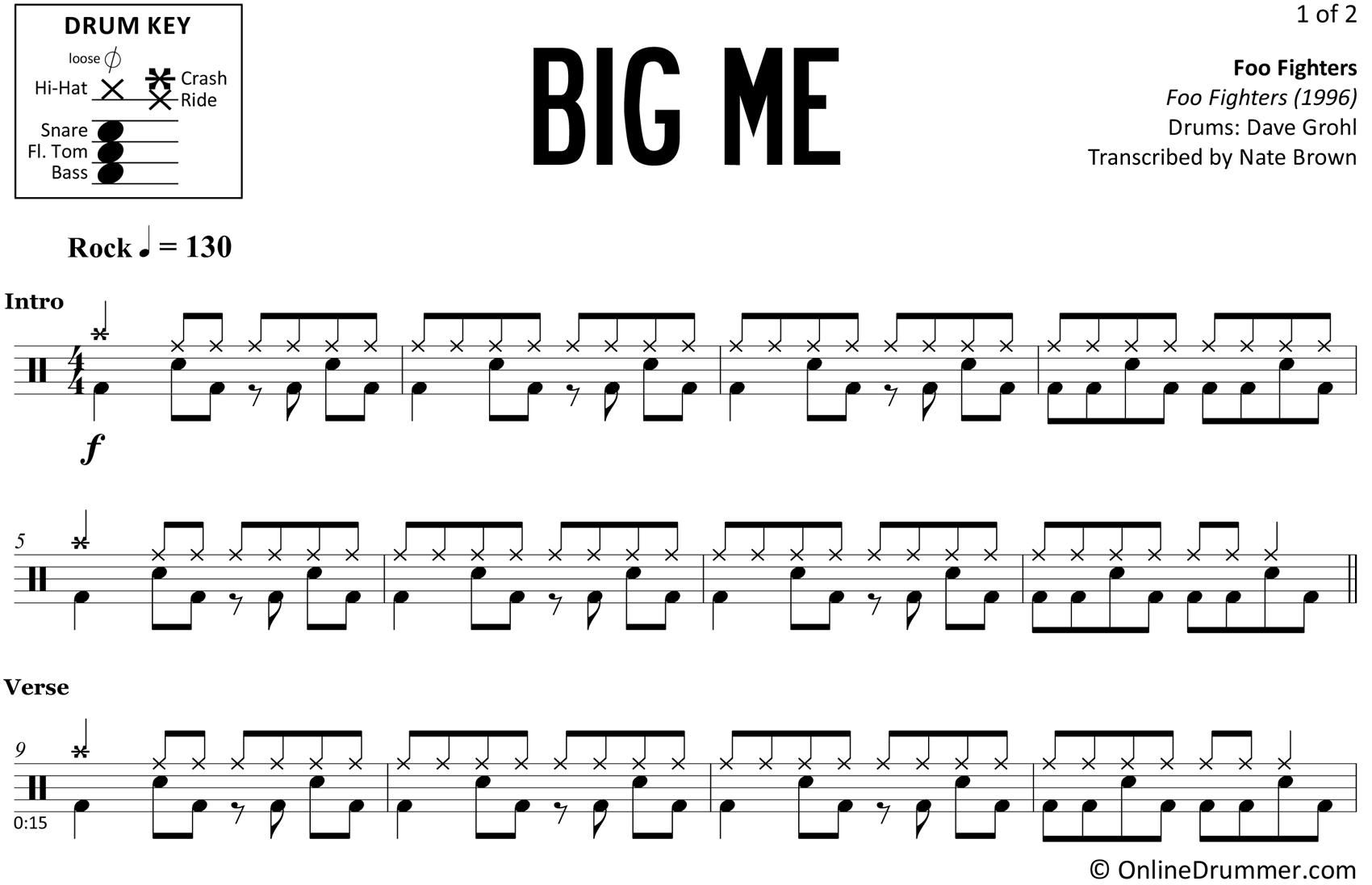 Big Me - Foo Fighters - Drum Sheet Music