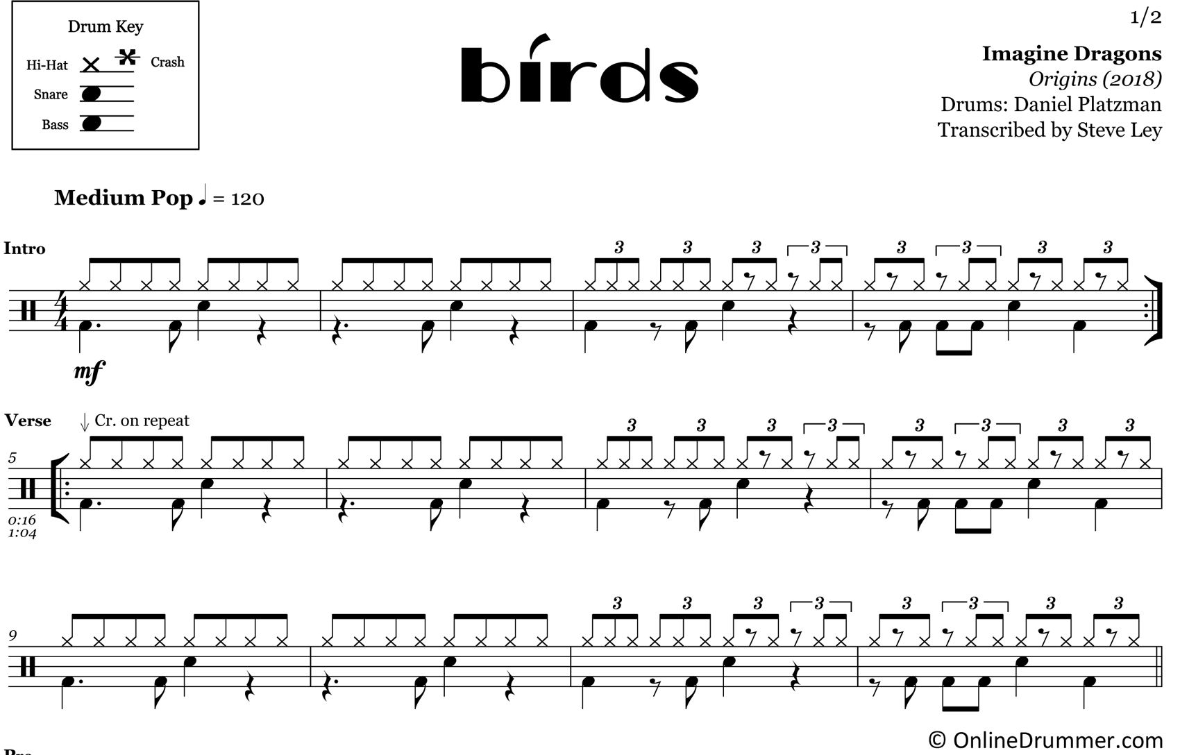 Birds - Imagine Dragons - Drum Sheet Music